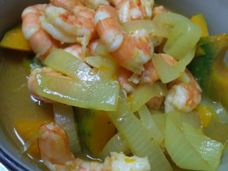 南瓜咖哩蝦煲