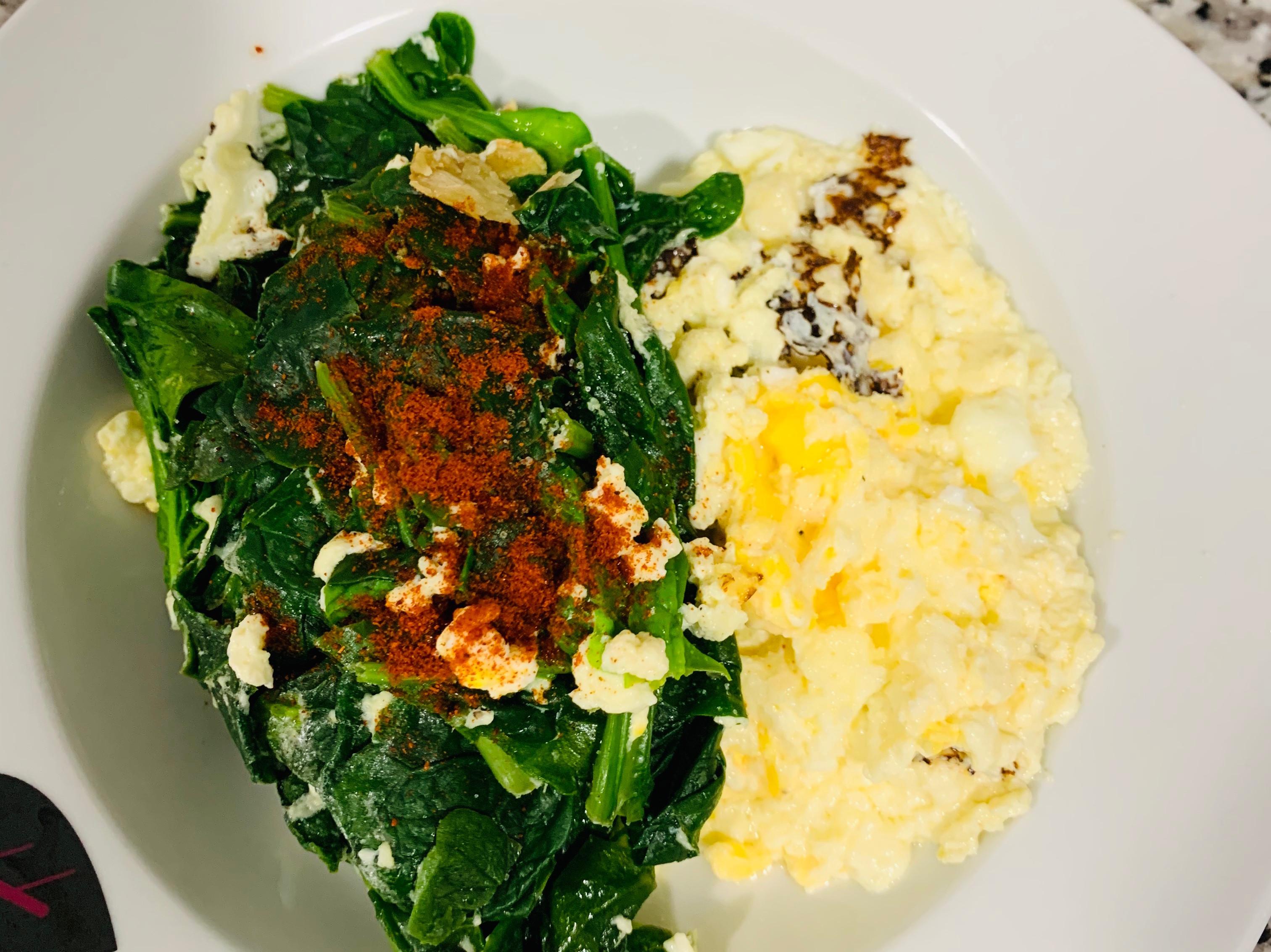 健康蔬食 菠菜 蛋