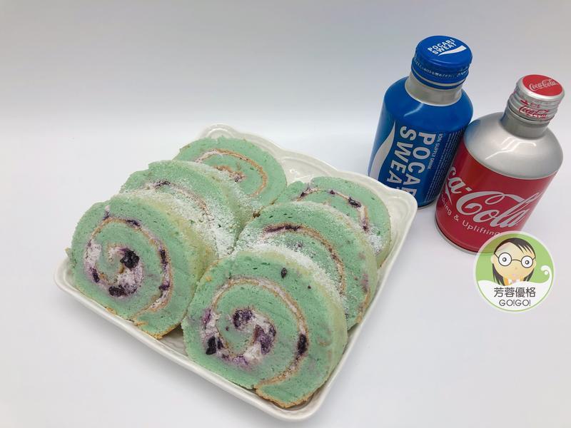 蝶豆花藍莓鮮奶油優格蛋糕卷