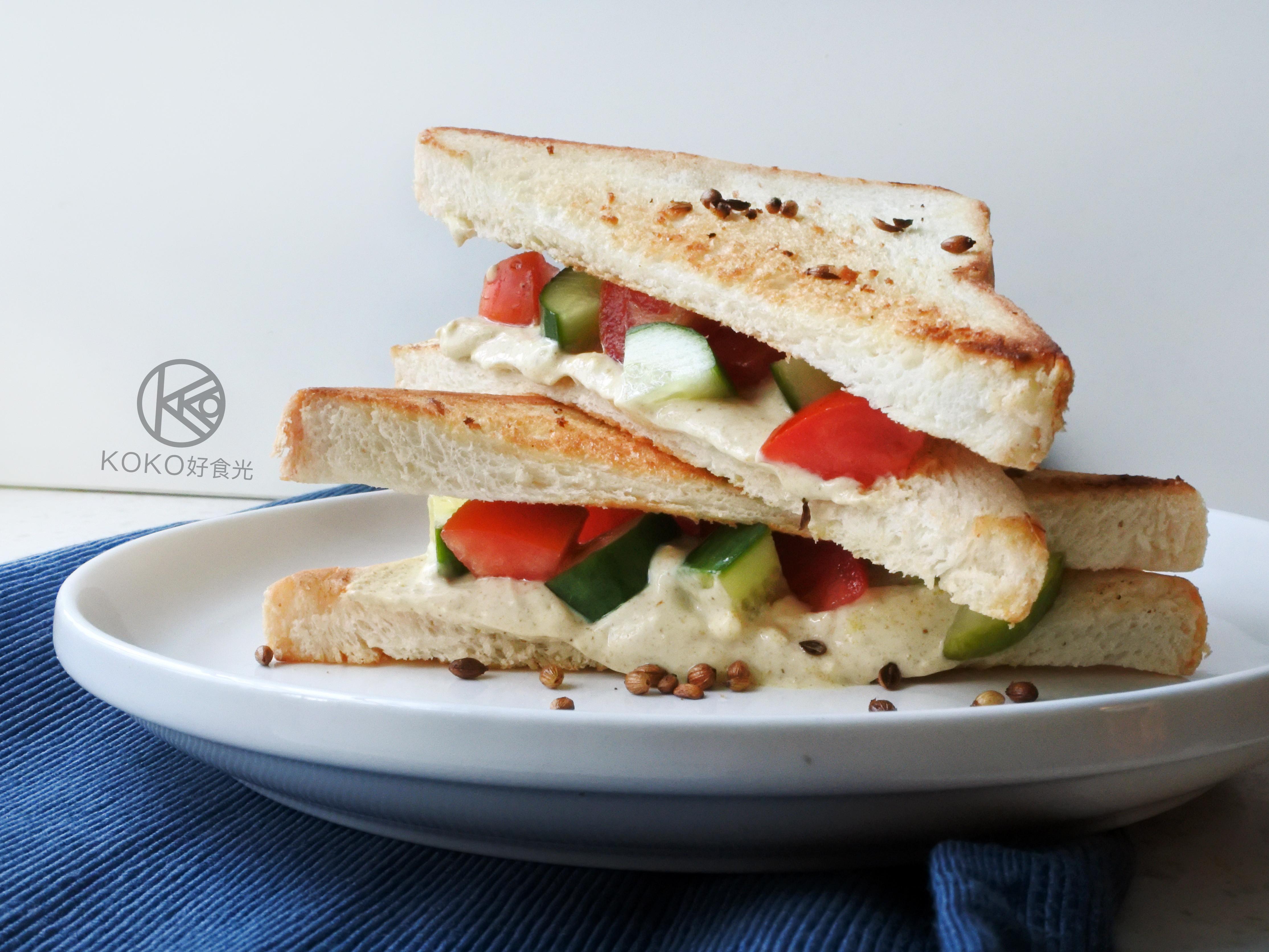五分鐘咖哩優格鮮蔬三明治早餐