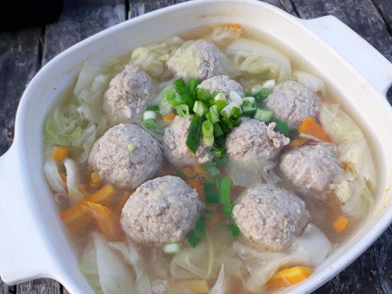 健康美味無油料理─水煮白菜肉丸子