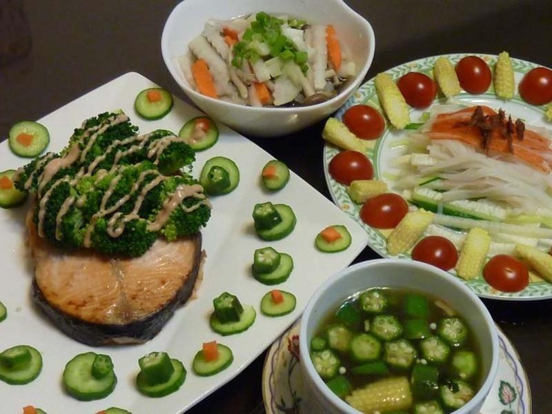試作減脂餐-鱈魚子美乃滋烤鮭魚定食