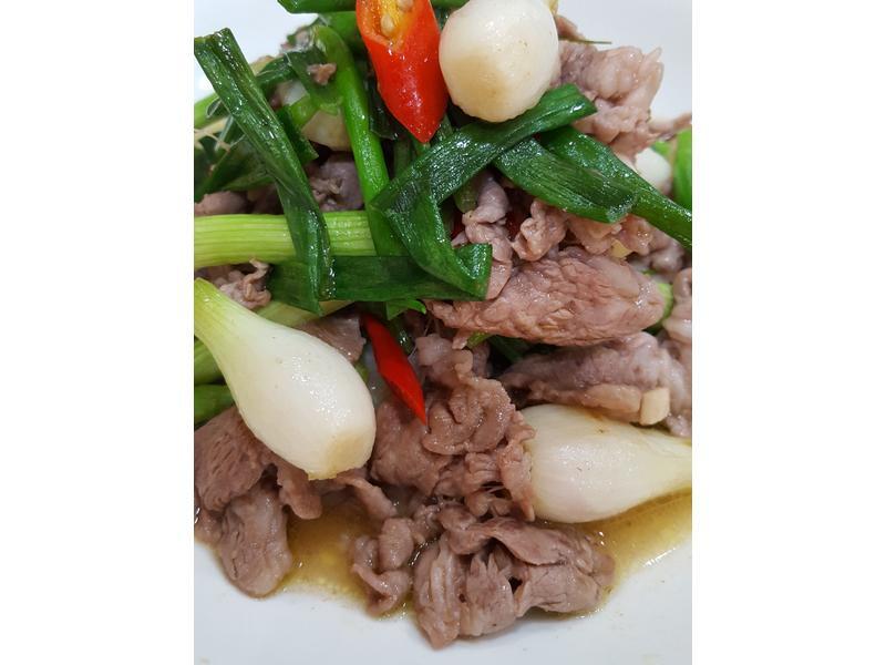 珠蔥炒羊肉片