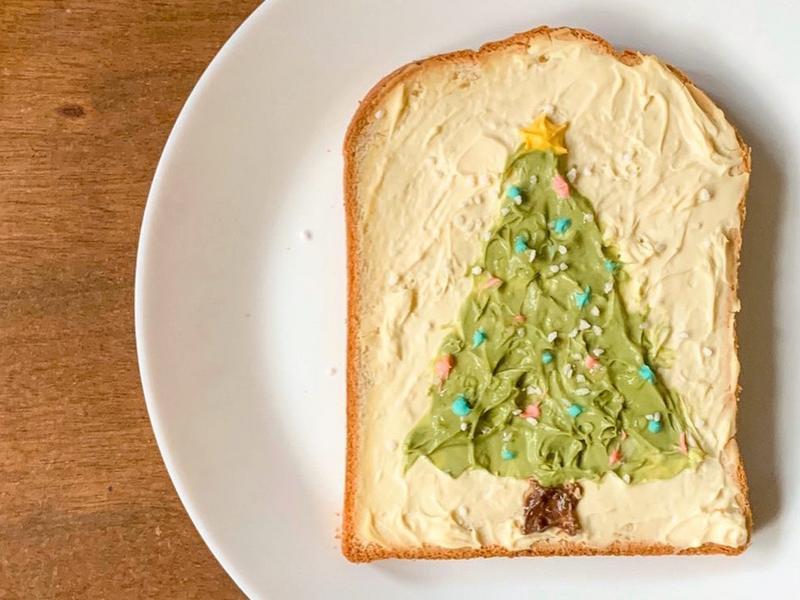 早餐吃什麼?聖誕樹油畫吐司🎄
