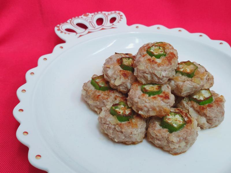(無油料理)秋葵小肉餅