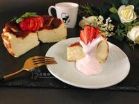 巴斯克乳酪蛋糕佐草莓奶霜醬(低碳生酮版)