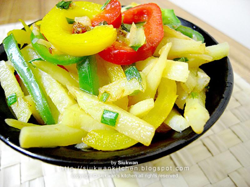 三色椒炒薯條  Fried Potato Strips with Bell Peppers