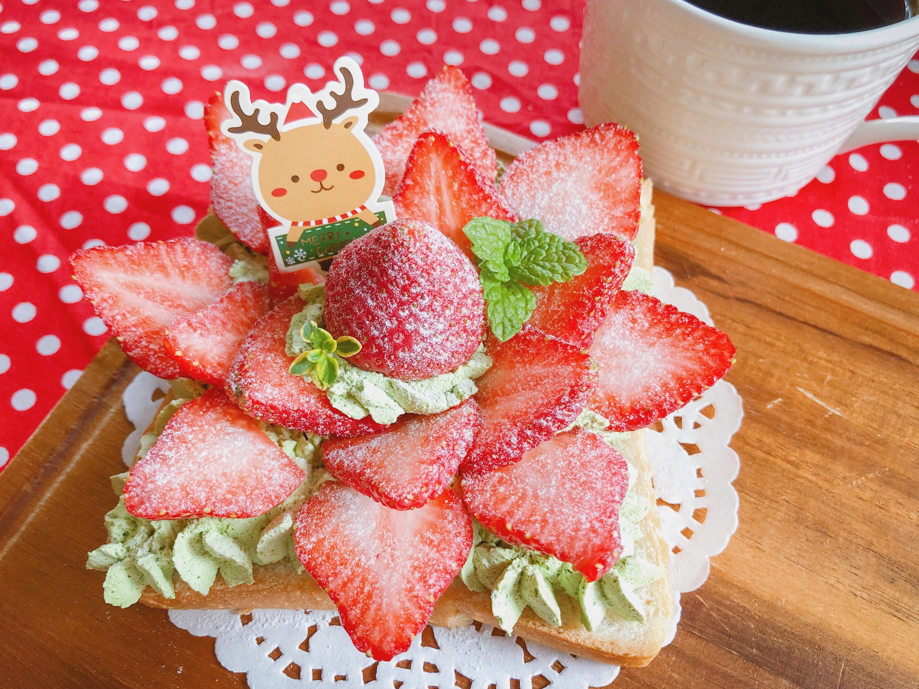 🎄聖誕節點心🎄抹茶奶油草莓吐司