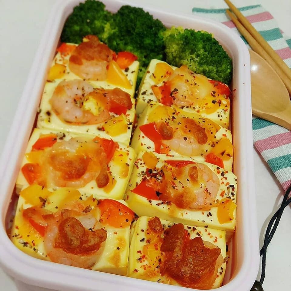 簡易料理-焗烤彩椒蝦豆腐