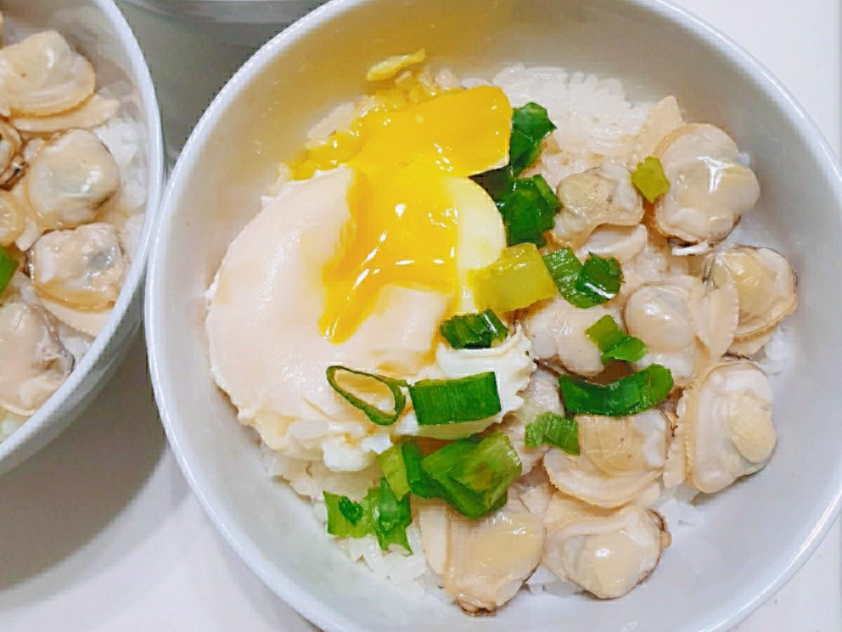 蛤蜊水波蛋蓋飯