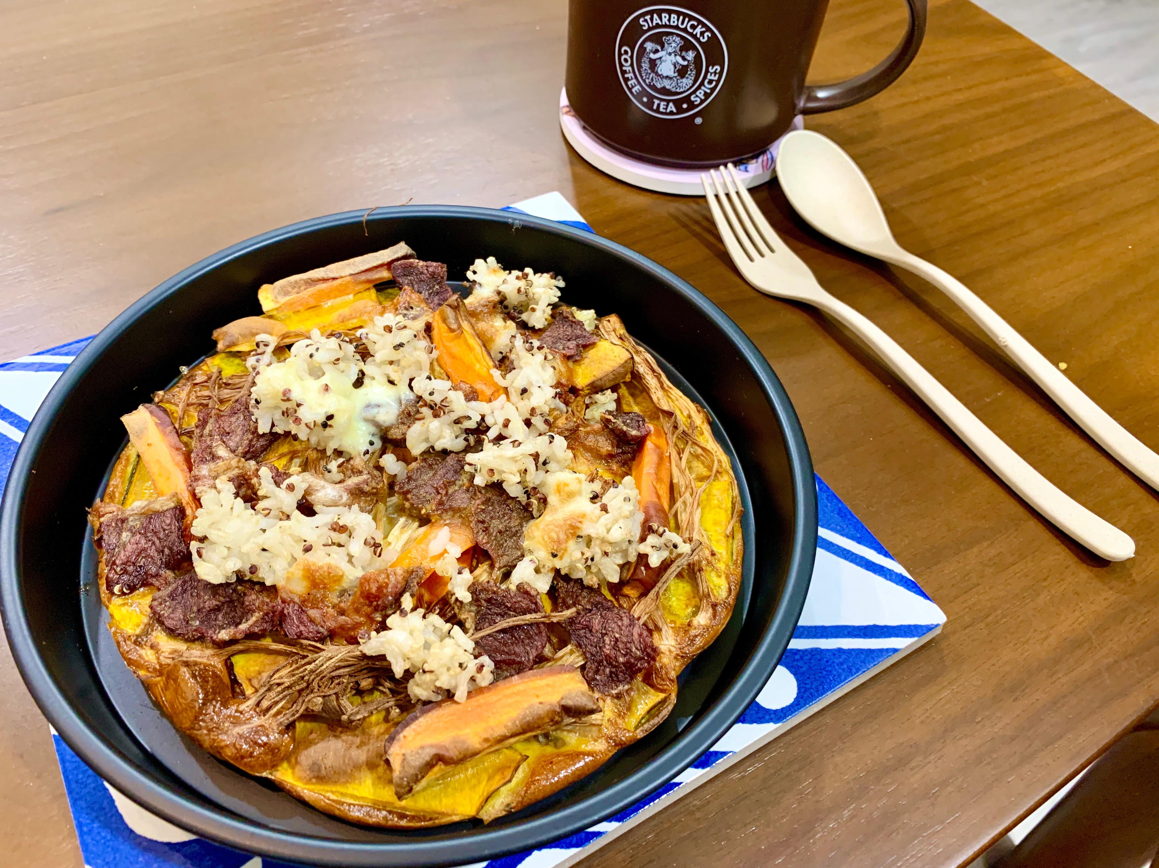 氣炸鍋-南瓜牛肉蔬菜焗飯
