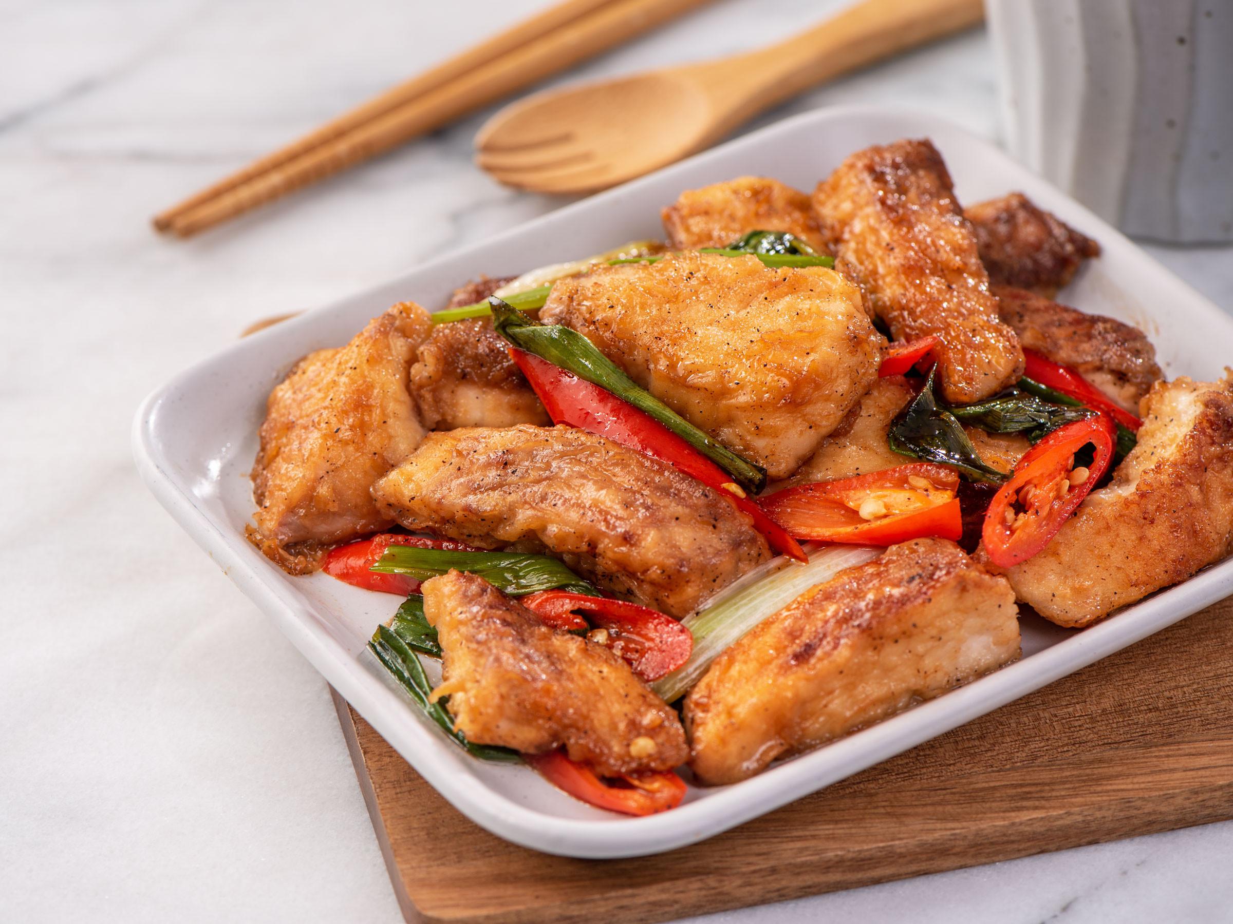 蔥燒魚片【蒸魚醬油】