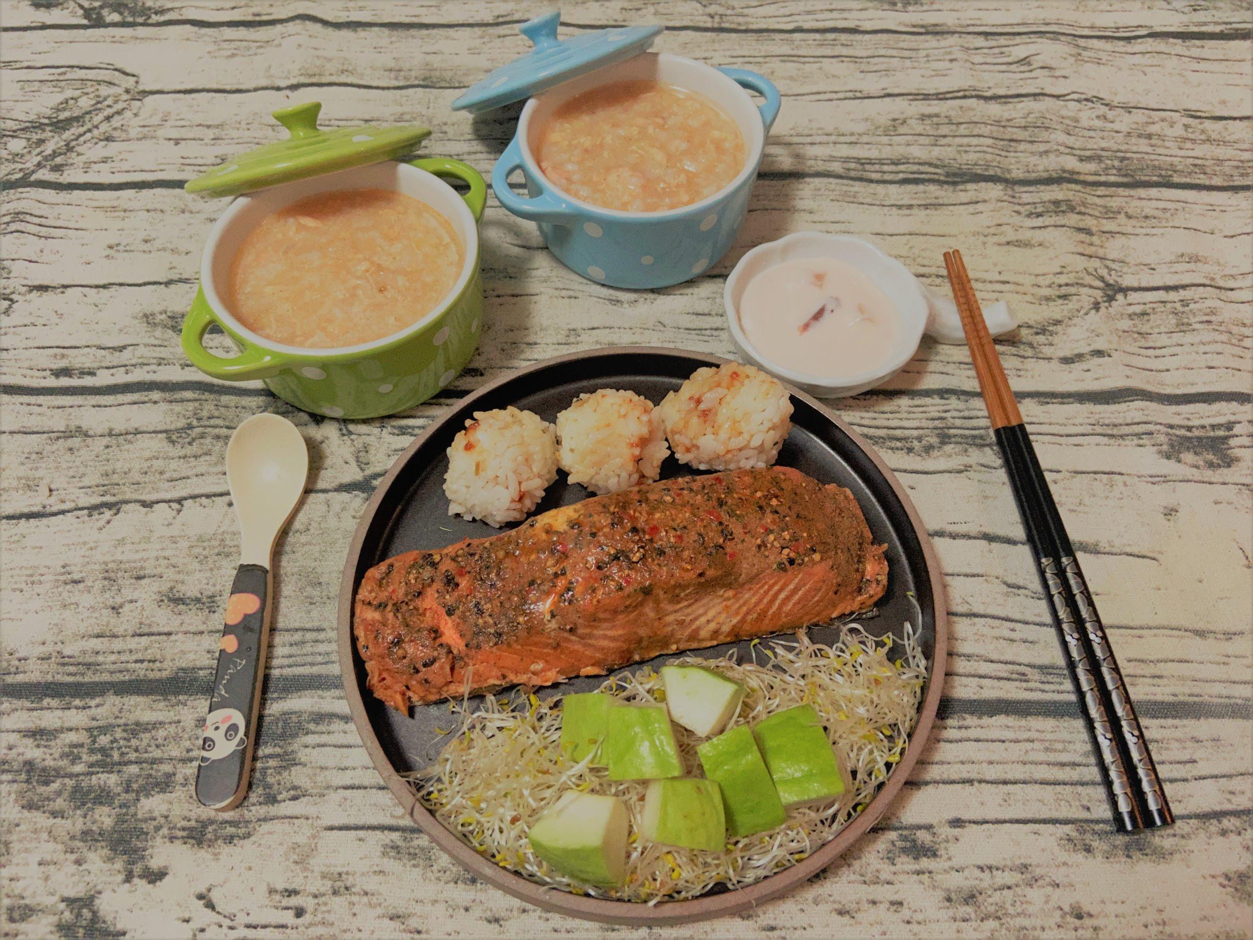 頂級不老鮭魚菲力粥+香草熱燻不老鮭魚沙拉