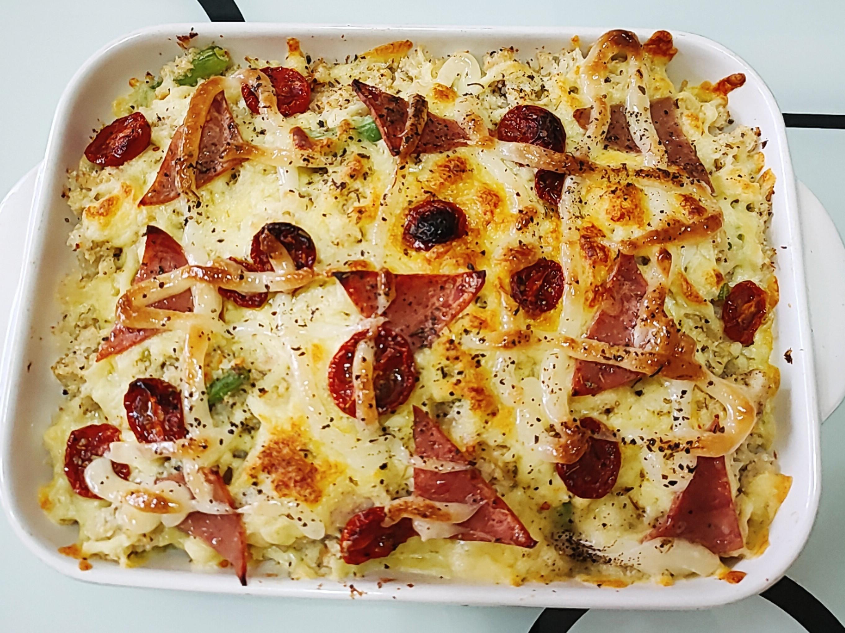 🥦焗烤雞肉蒟蒻花椰菜飯