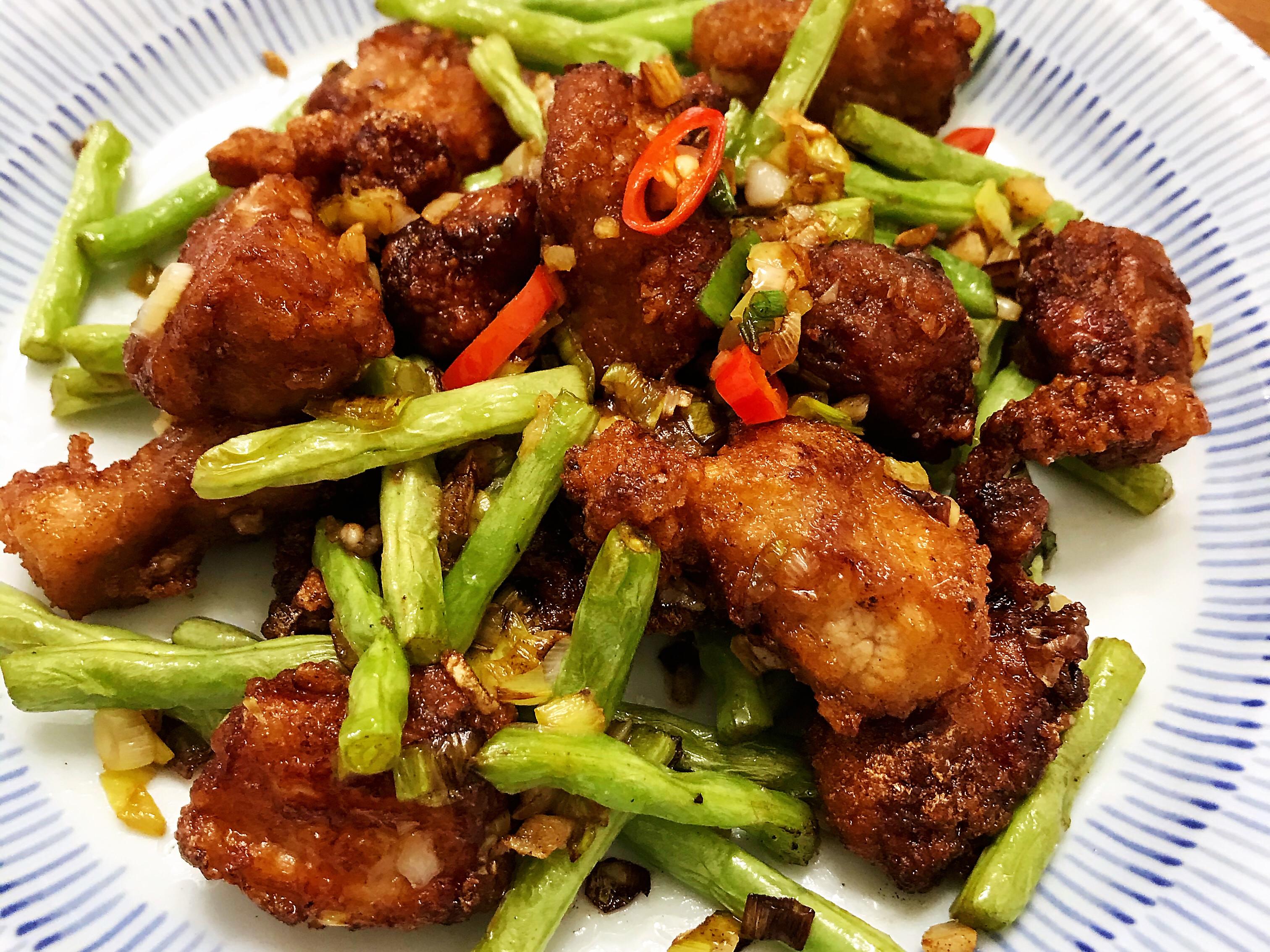 椒鹽排骨酥炒四季豆
