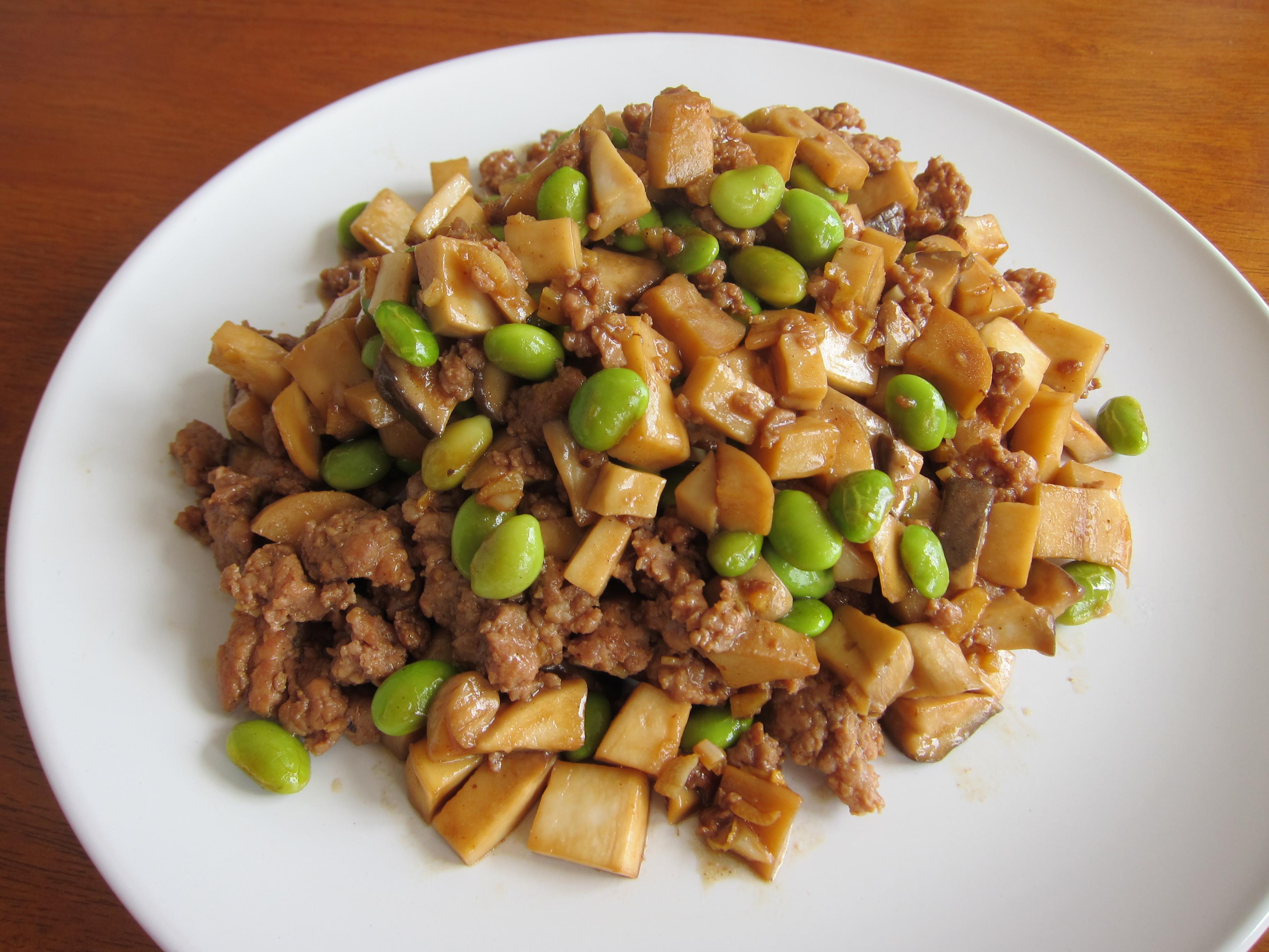 毛豆杏包菇炒絞肉