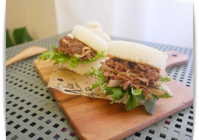 好簡單「壽喜燒米漢堡」一顆吃好飽 ♡