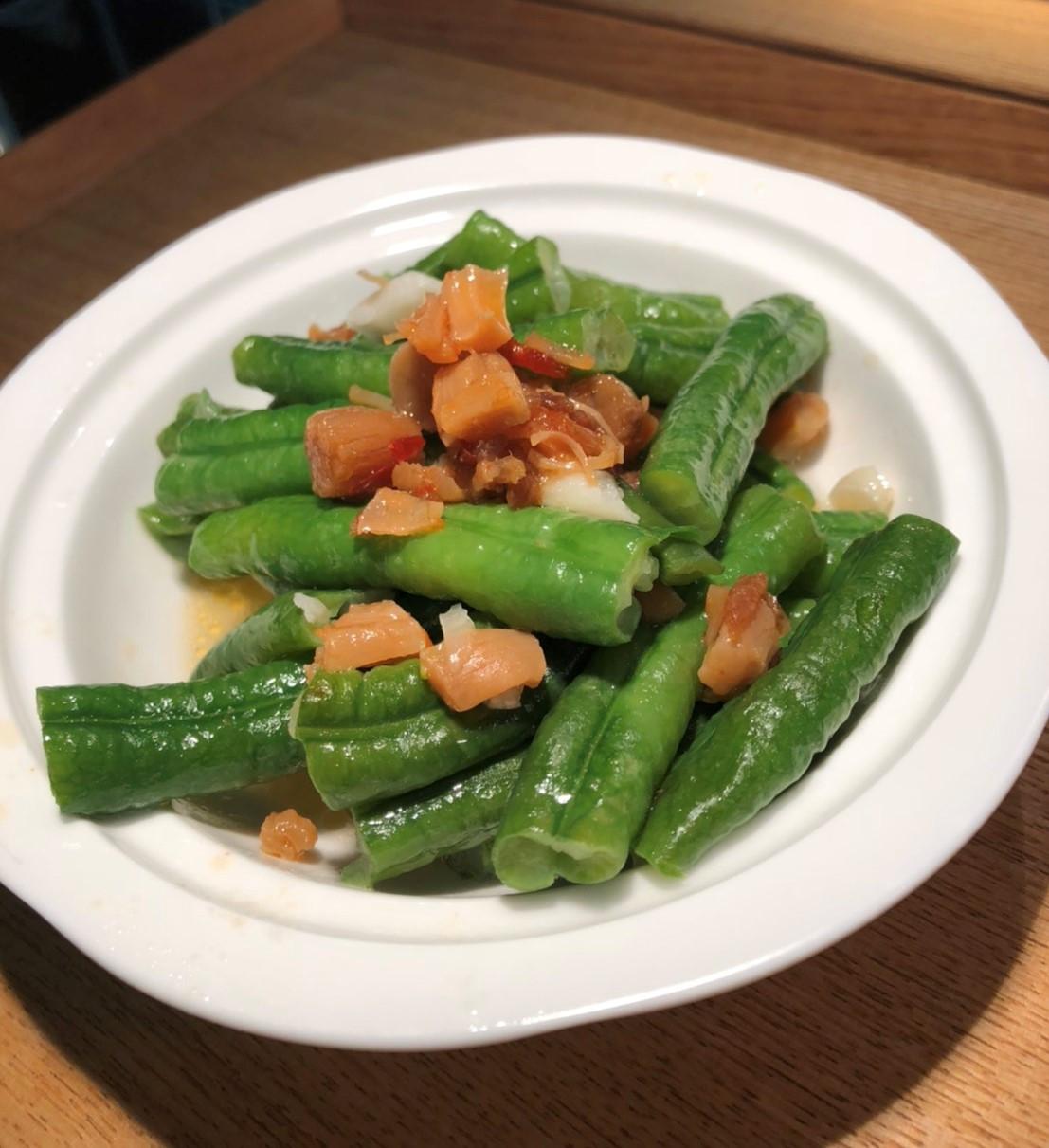 蒜炒干貝菜豆