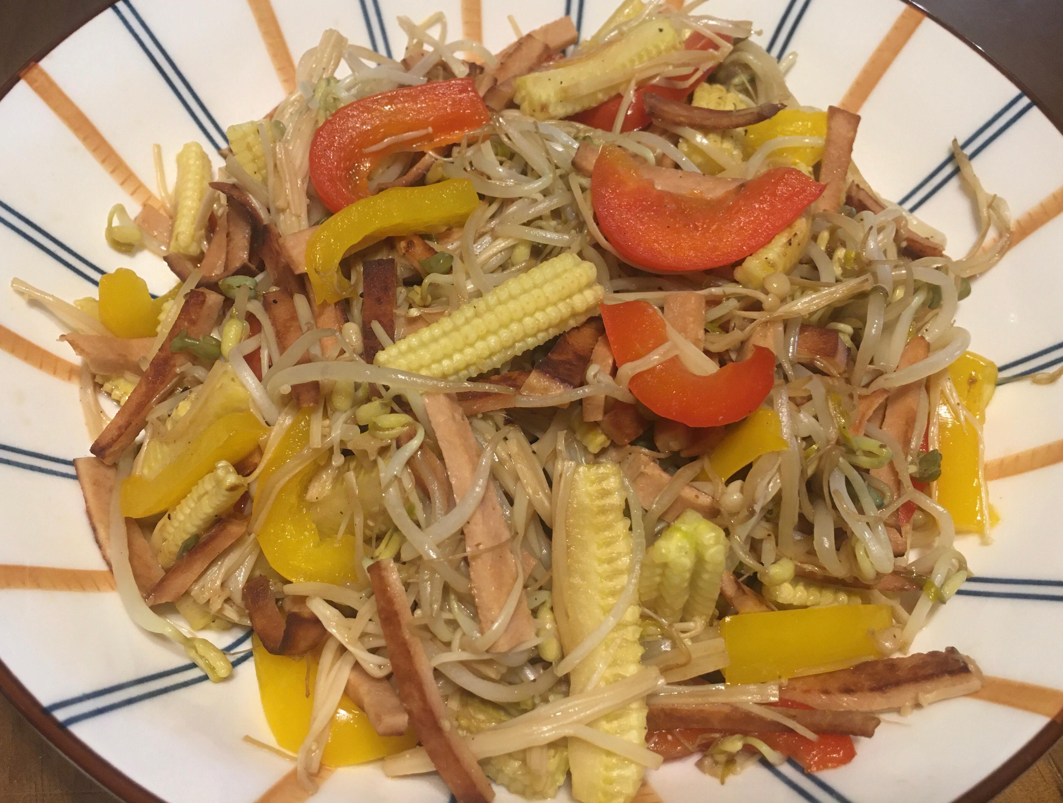 綠豆芽炒什錦(素食)