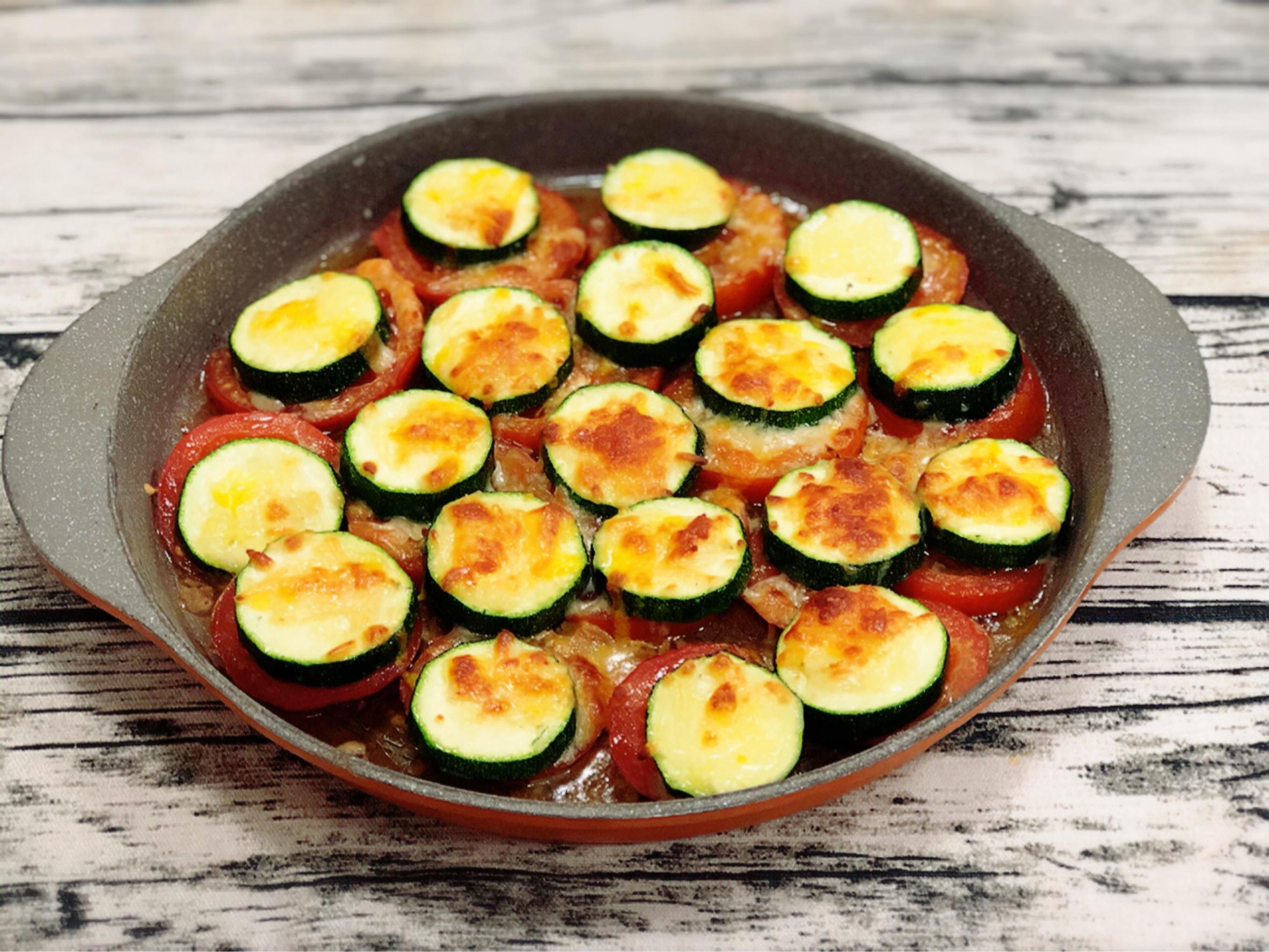 焗烤櫛瓜佐番茄(水波爐料理)