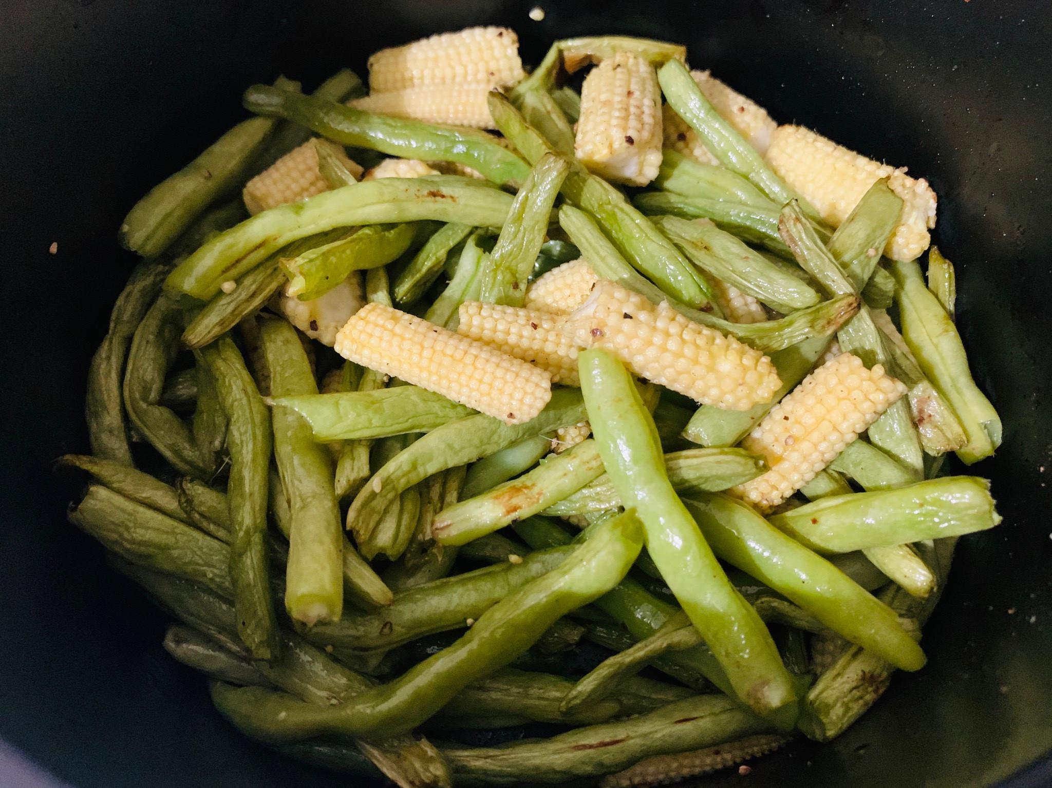 椒鹽四季豆、玉米筍(氣炸鍋)
