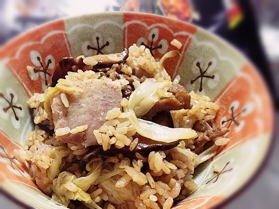 《麻油芋香高麗菜飯》---大賀米好料理