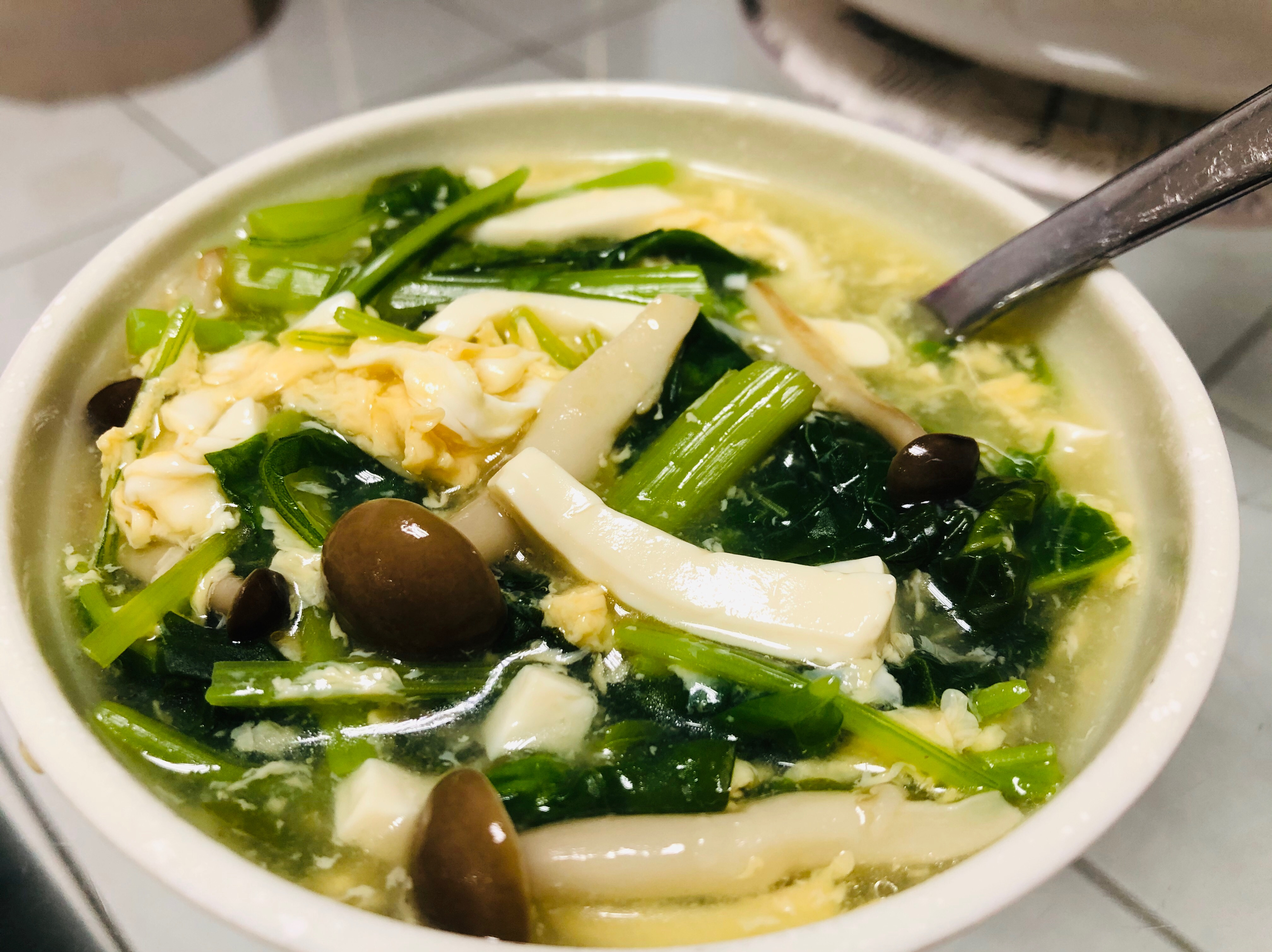 鴻喜菇莧菜豆腐蛋花羹/康寶自然鮮嫩雞風味