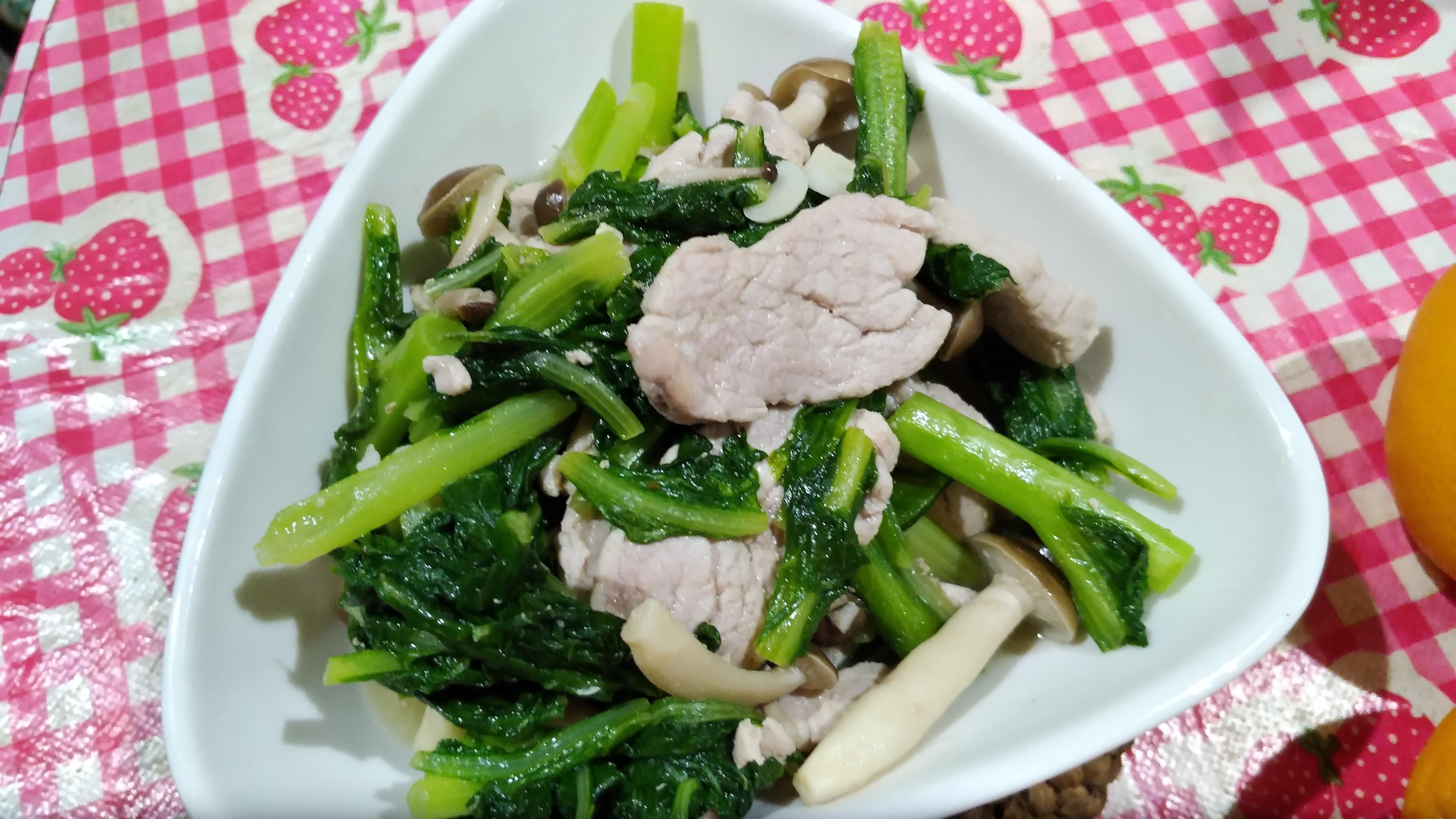 A菜鮮菇炒里肌