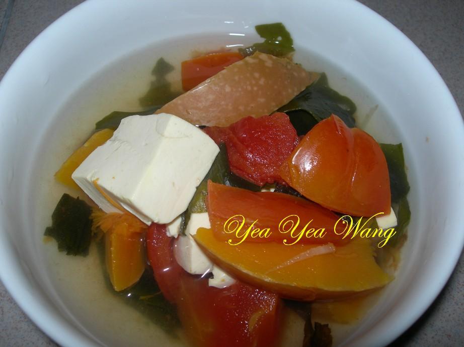 (素)南瓜蕃茄海帶芽豆腐湯
