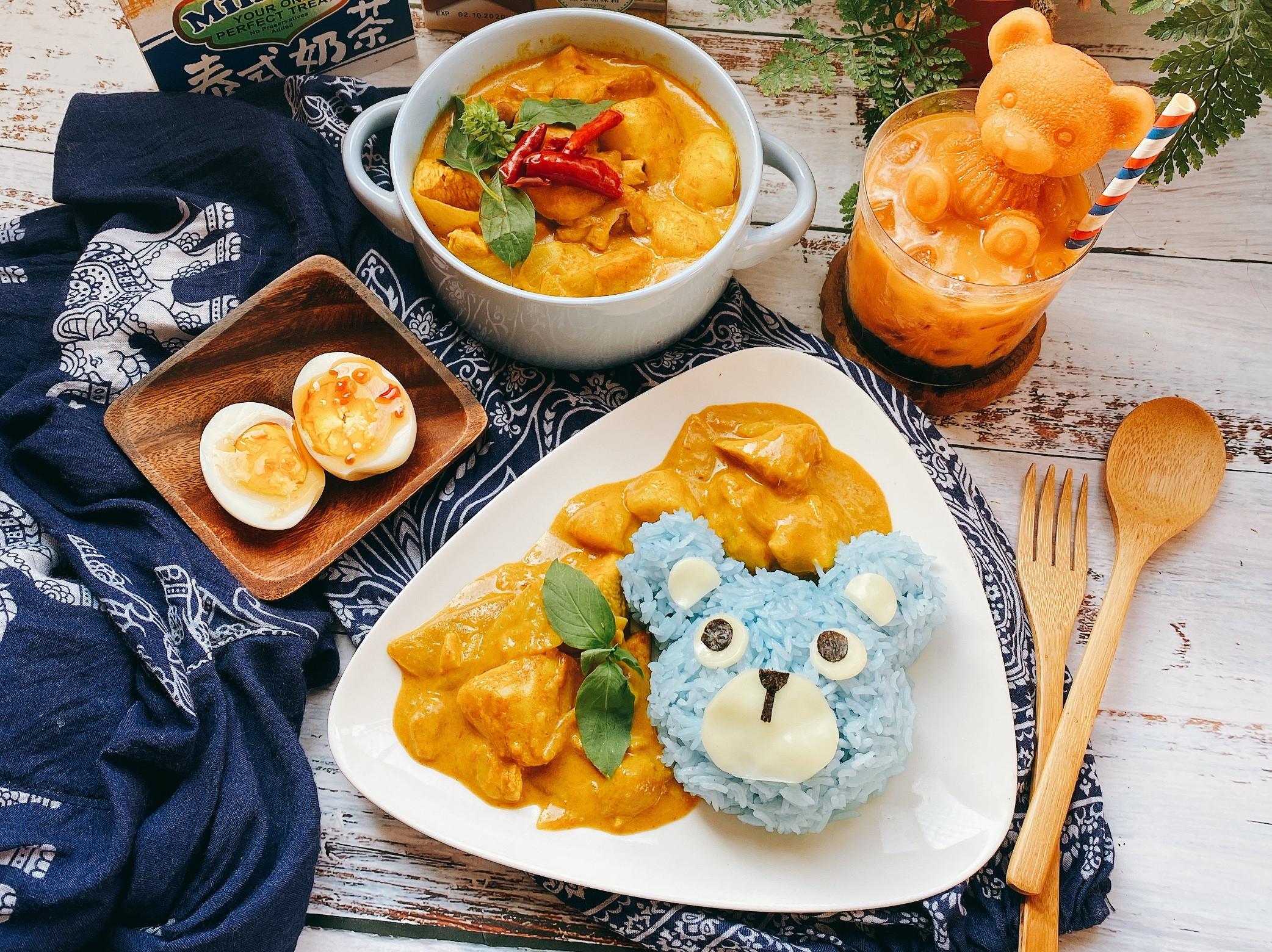 𓃰泰式黃咖喱與熊熊蝶豆花籃飯𓃰