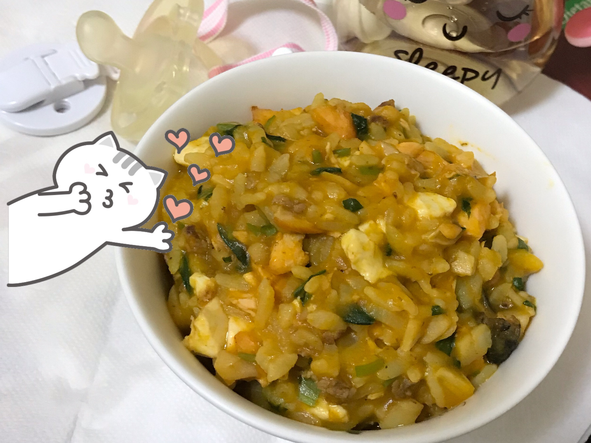 寶寶吃「奶香金沙三味燉飯」❤️