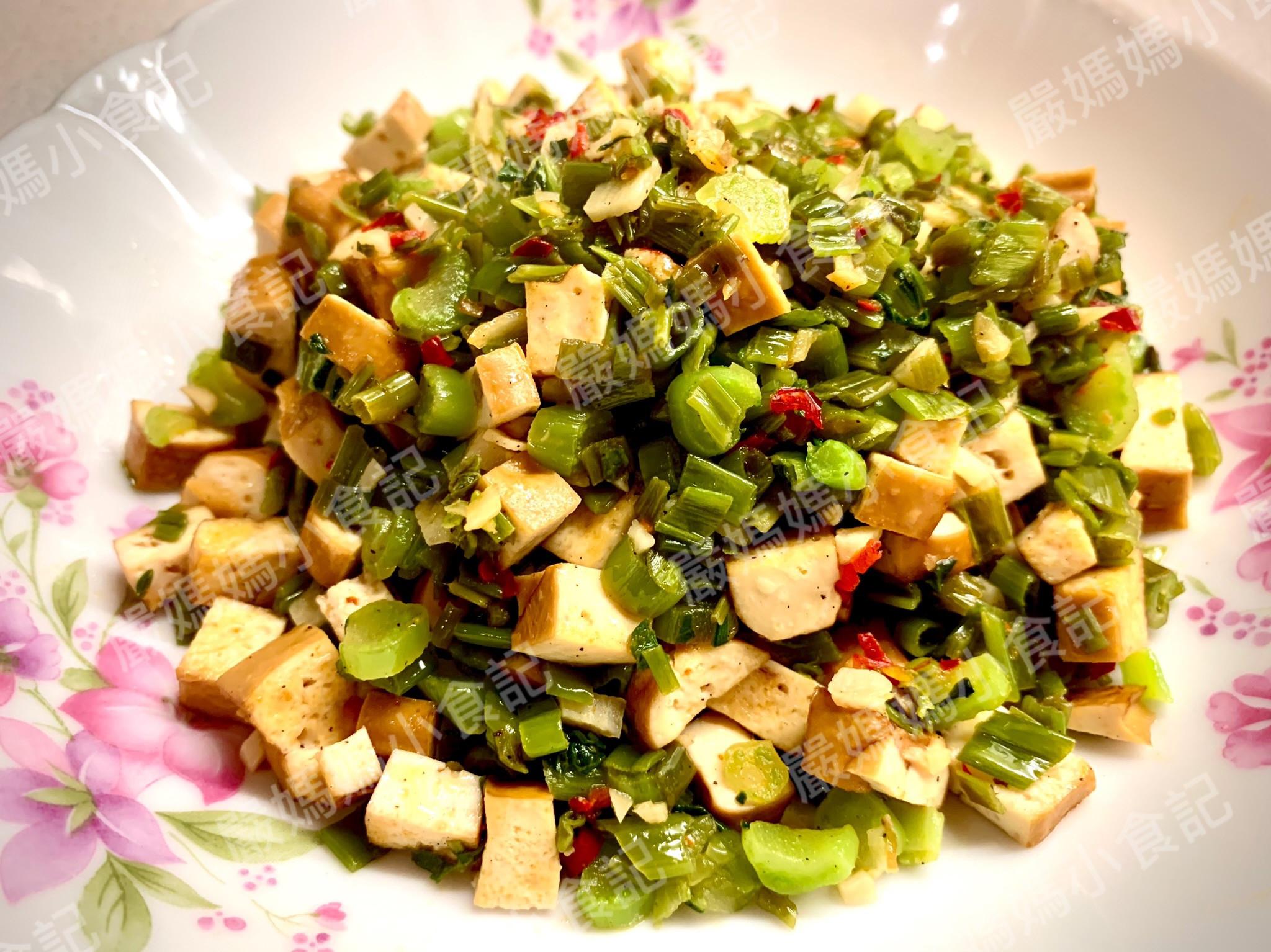 豆乾炒菜梗(惜物料理3)