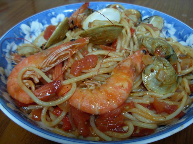 [ 廚房試作 ]  辣味蕃茄海鮮義大利麵
