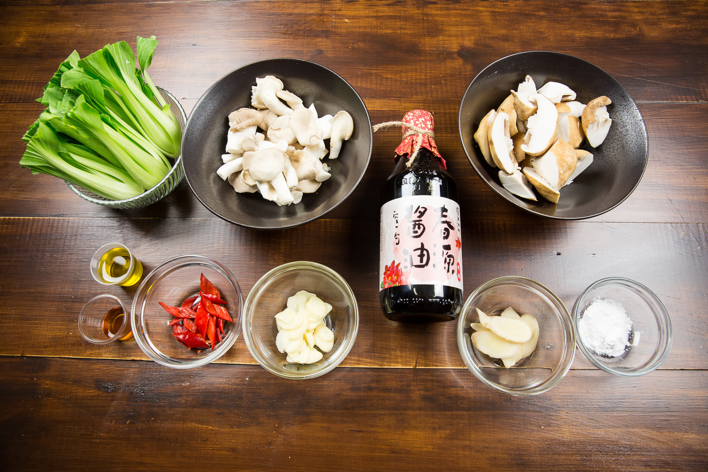 碧綠燒雙菇-豆油伯春源醬油