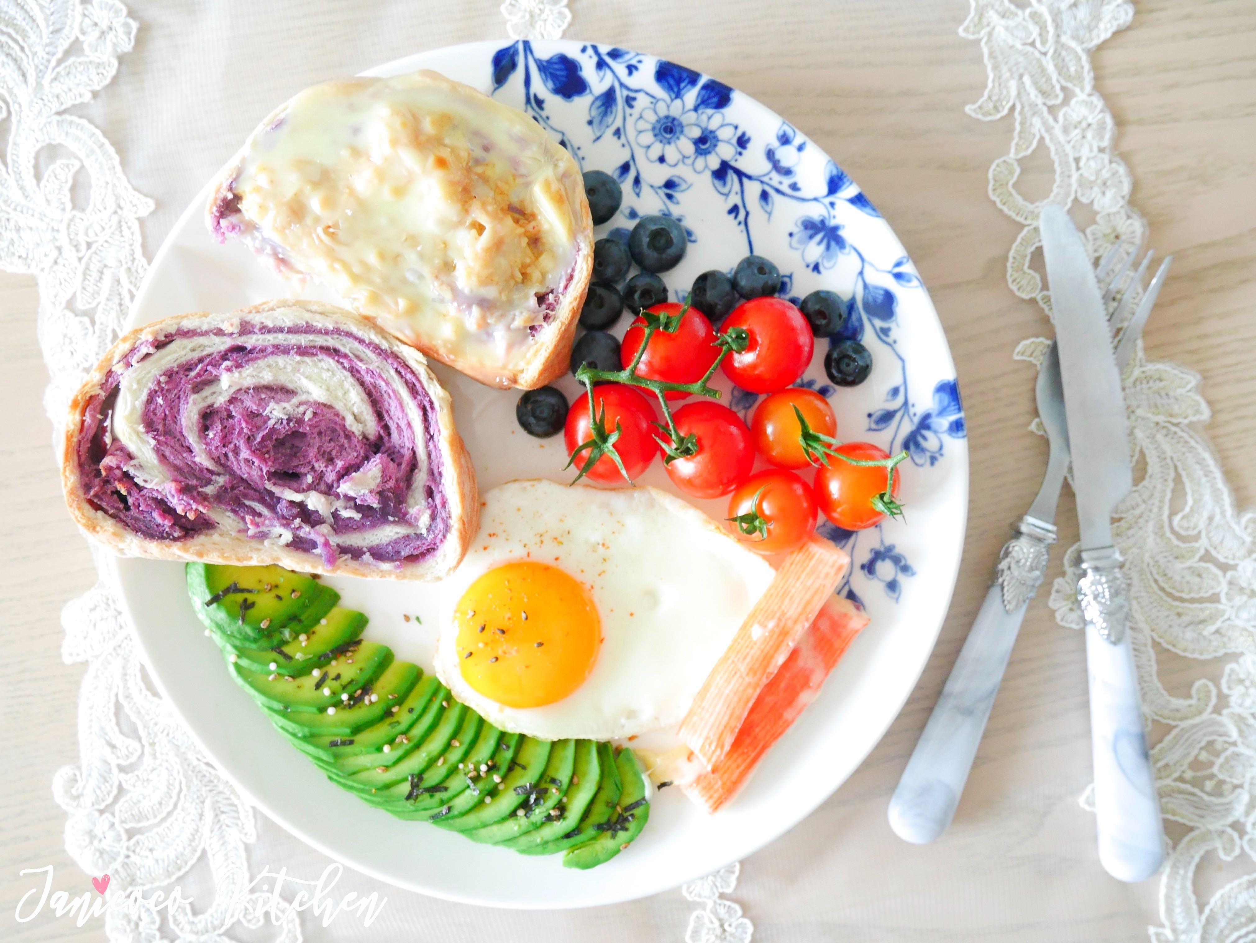烘焙麵包🥯西式早餐🍳紫薯花紋麵包