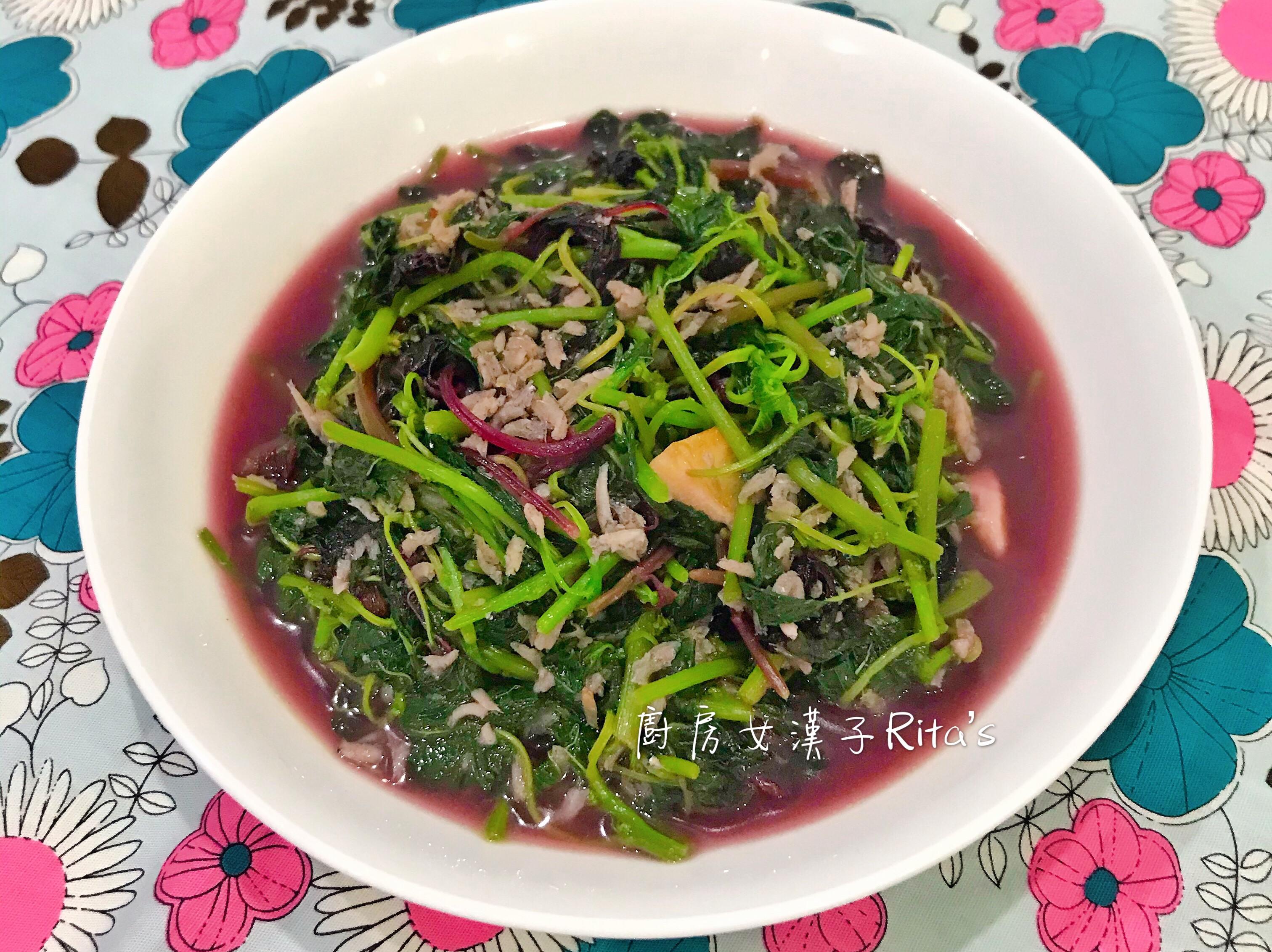 吻仔魚炒莧菜