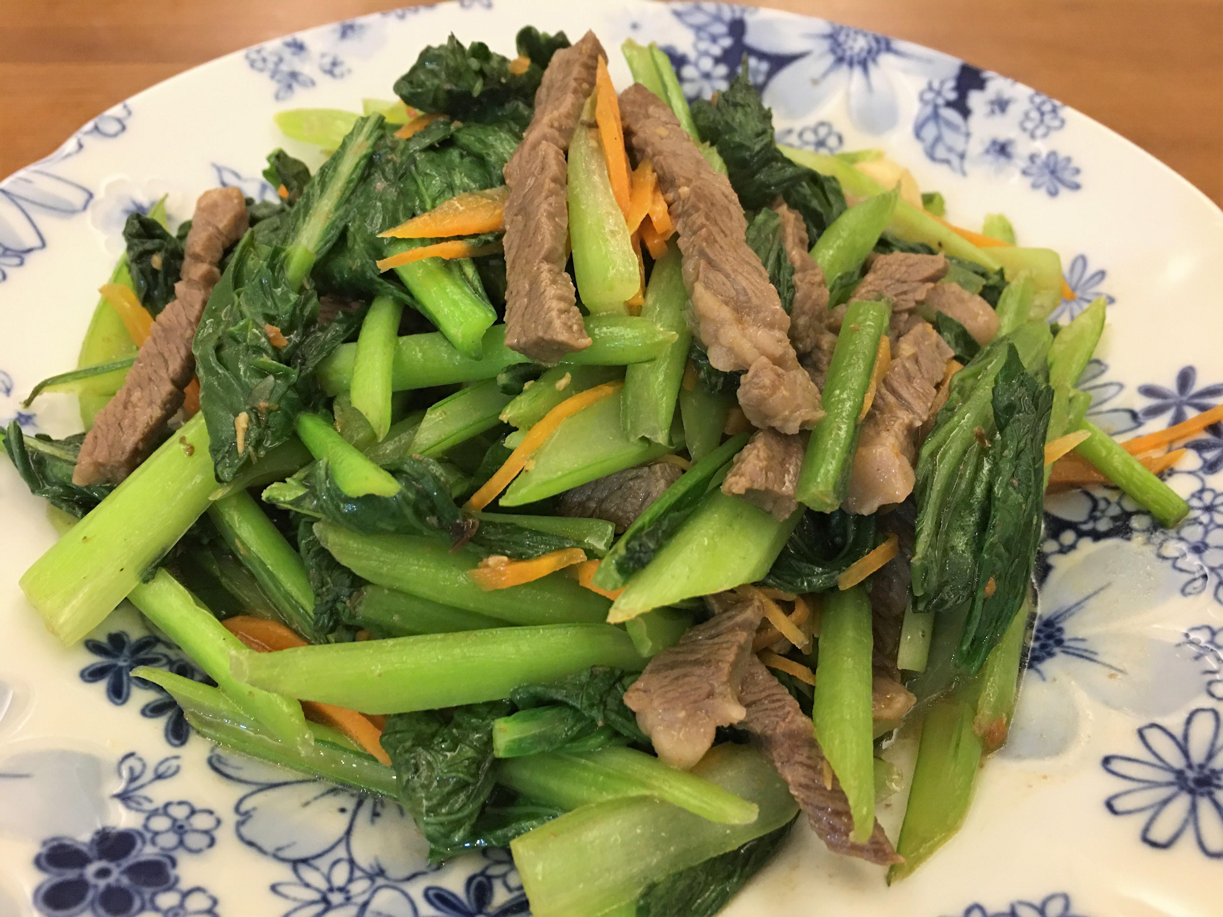 油菜炒沙茶牛肉