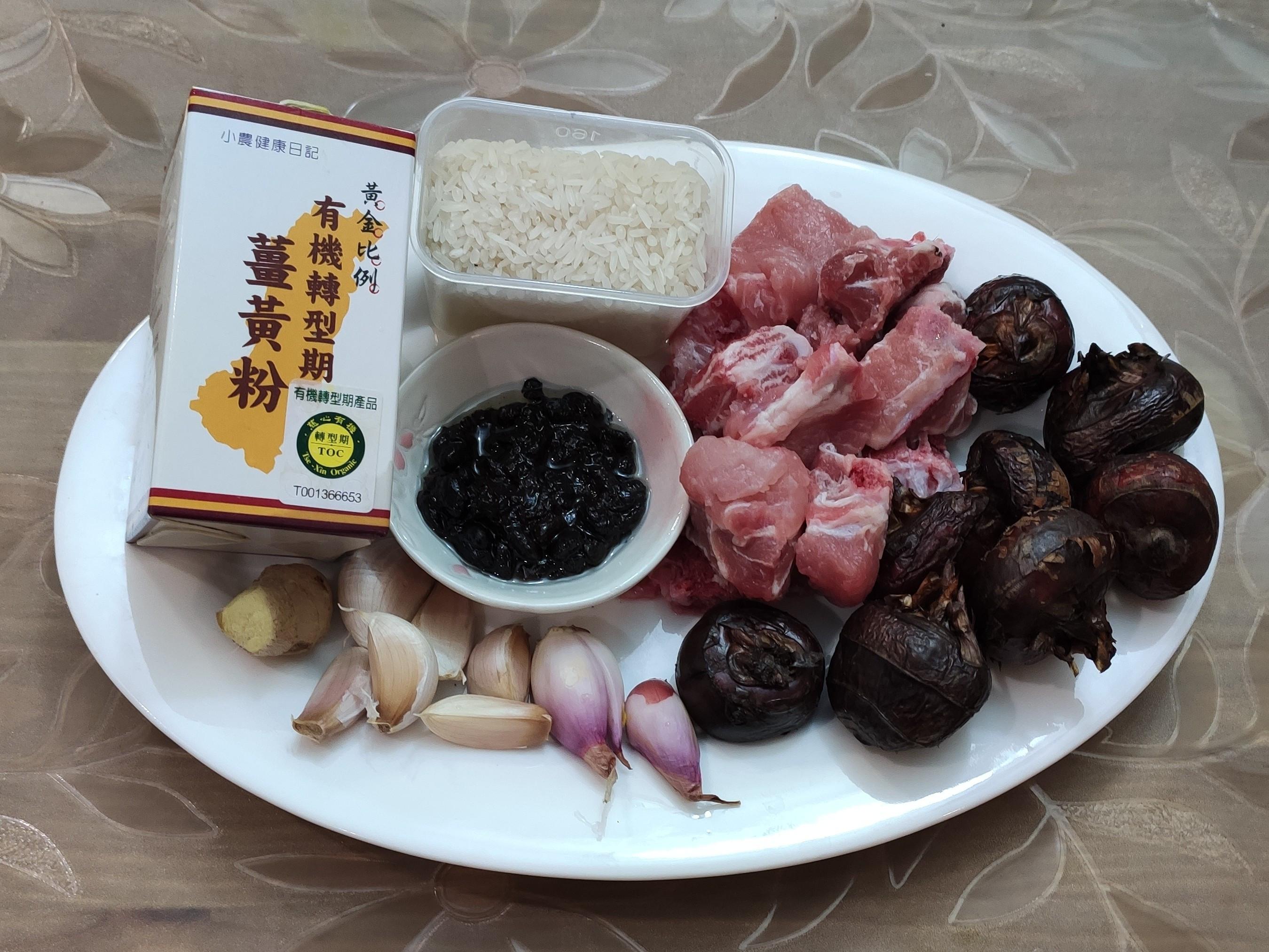 有機薑黃蒜頭豆豉排骨馬蹄煲仔飯