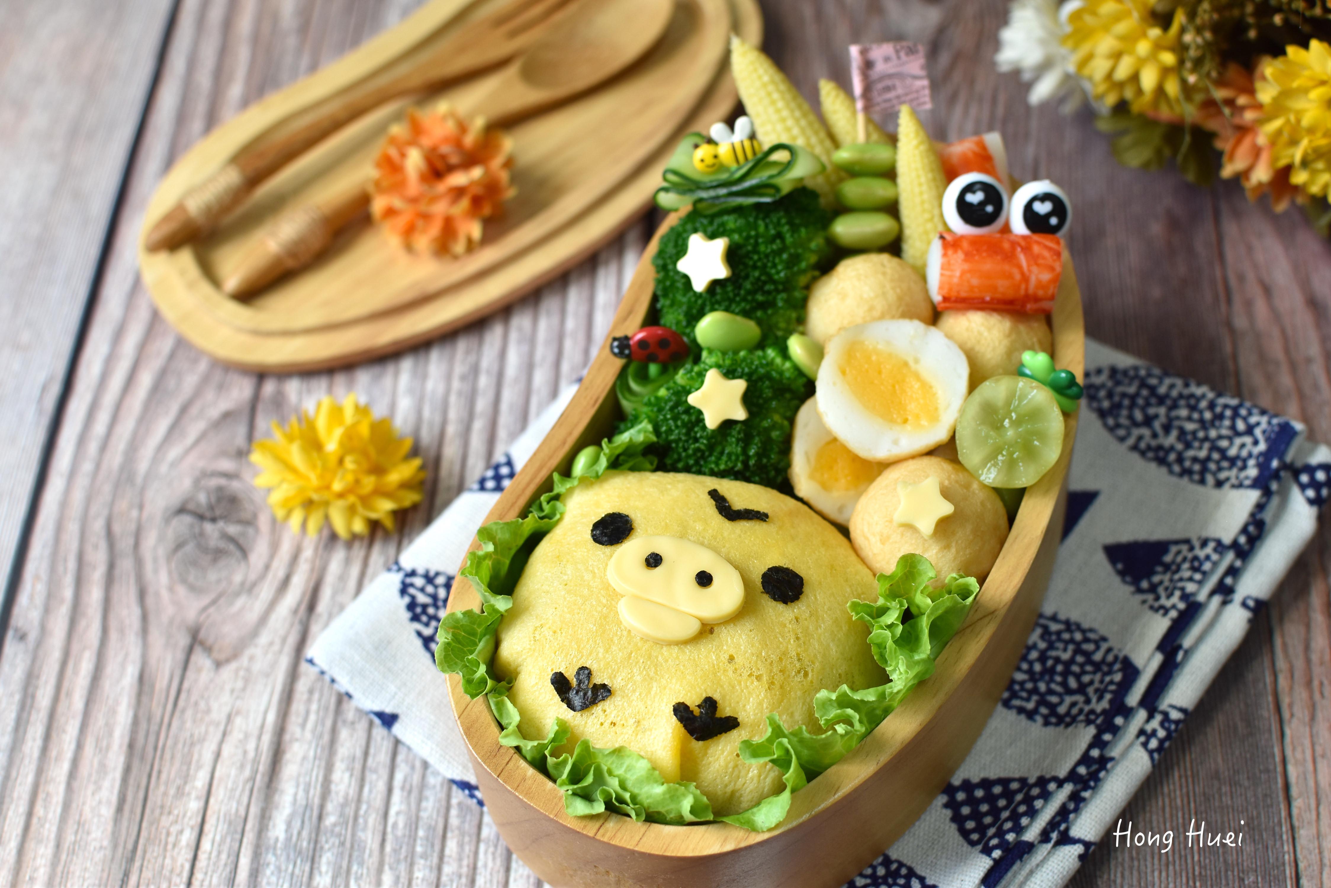 可愛小雞蛋包飯便當