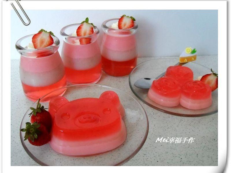 【草莓就愛鷹牌煉奶】草莓煉奶三色果凍
