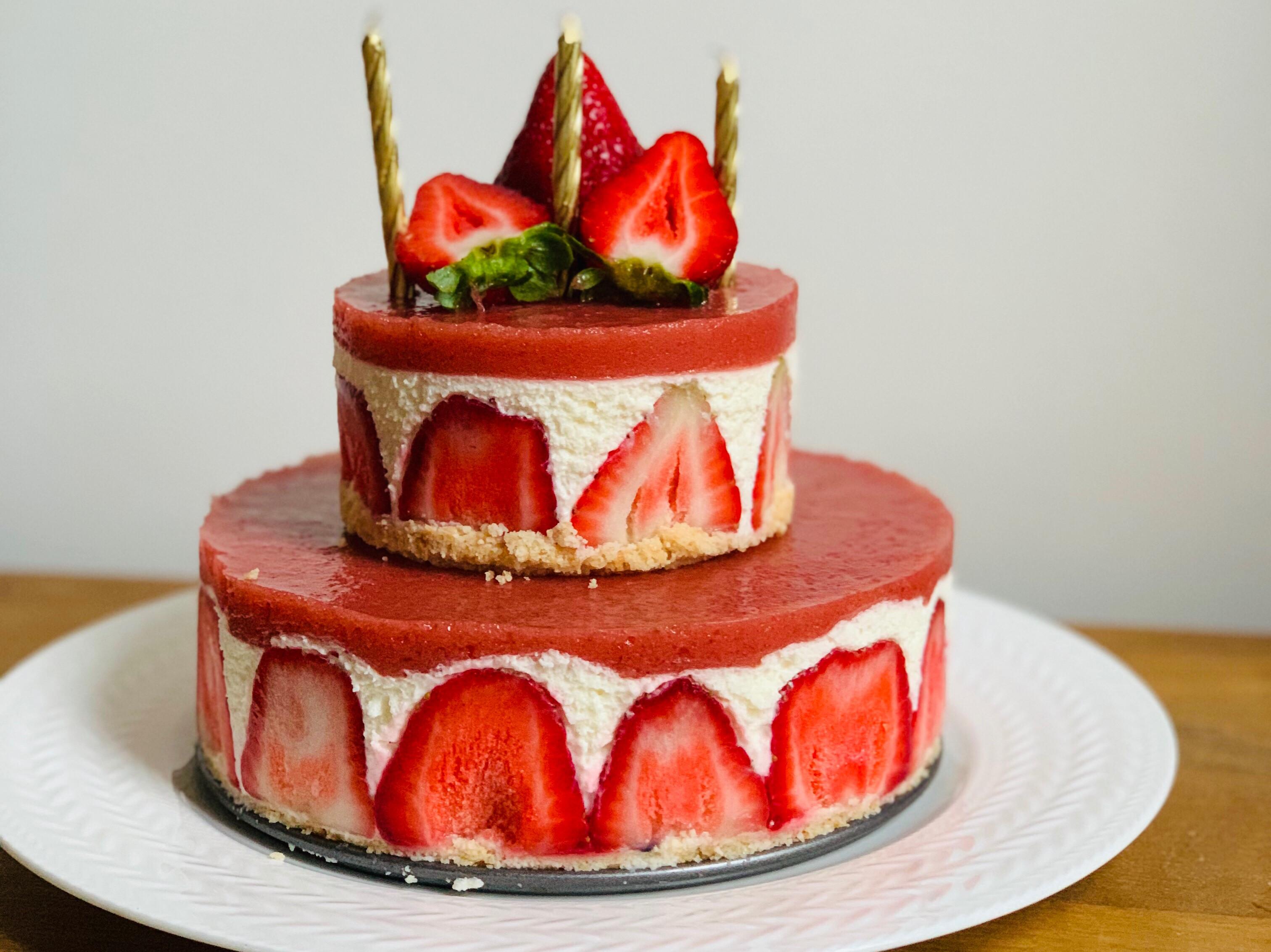 免烤!雙層草莓蛋糕
