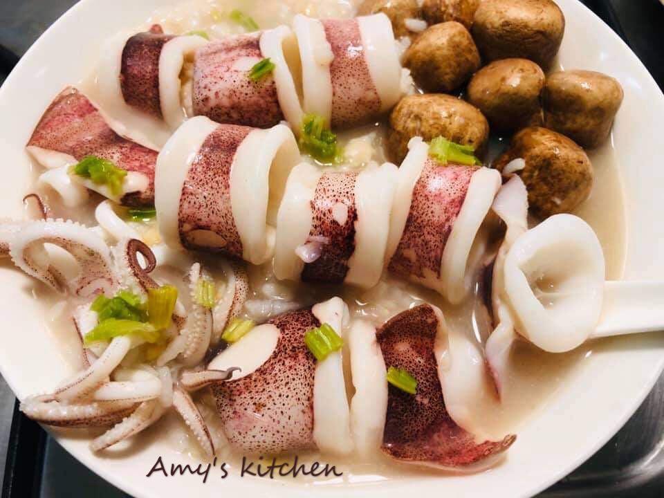 透抽蘑菇粥
