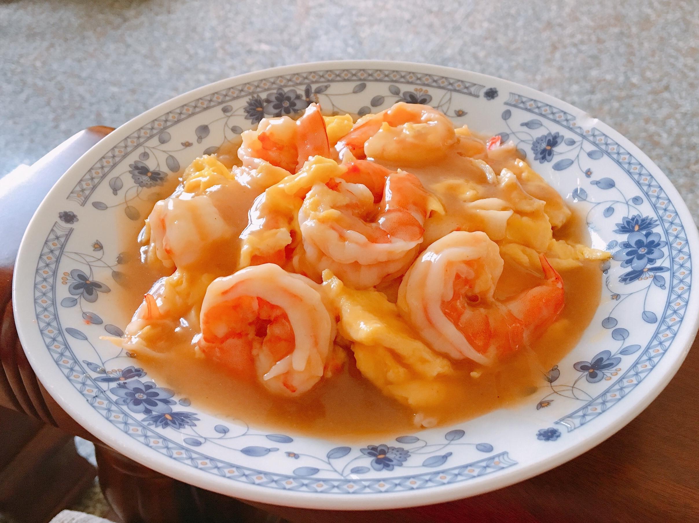 滑蛋蝦仁飯+高湯勾芡