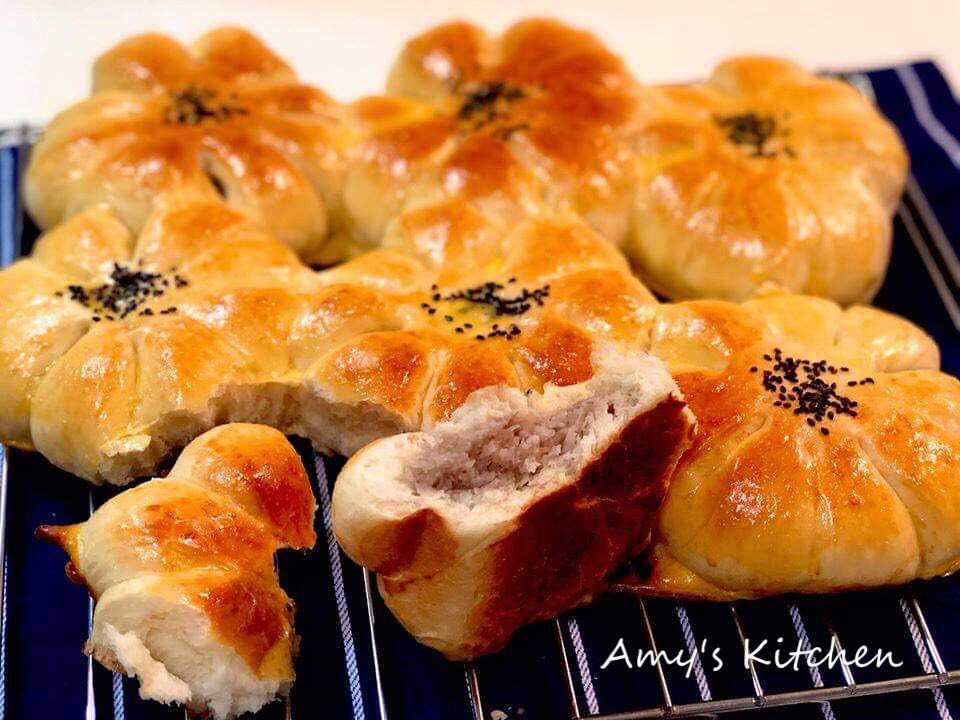 早餐-自製芋泥升級芋泥麵包