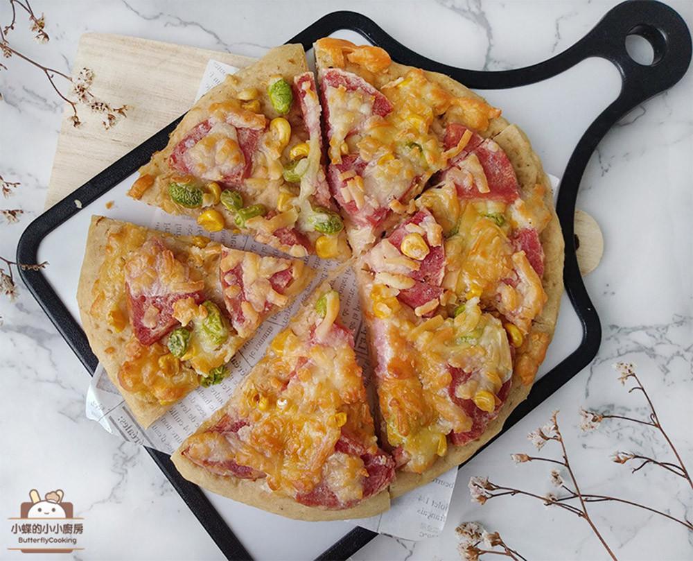 柚醬火腿披薩★電鍋發酵版,自製無油餅皮