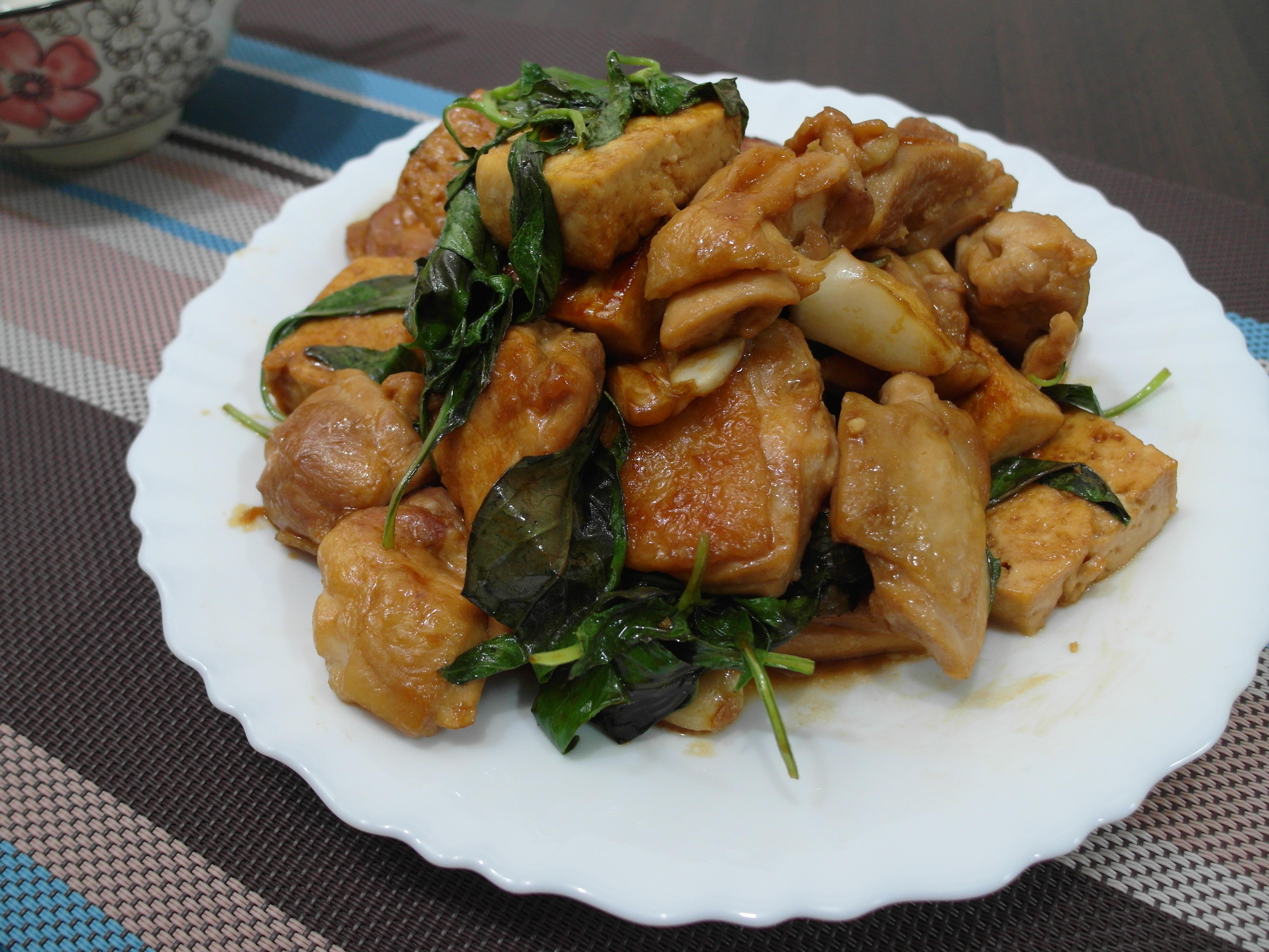 【家常菜】三杯豆腐雞