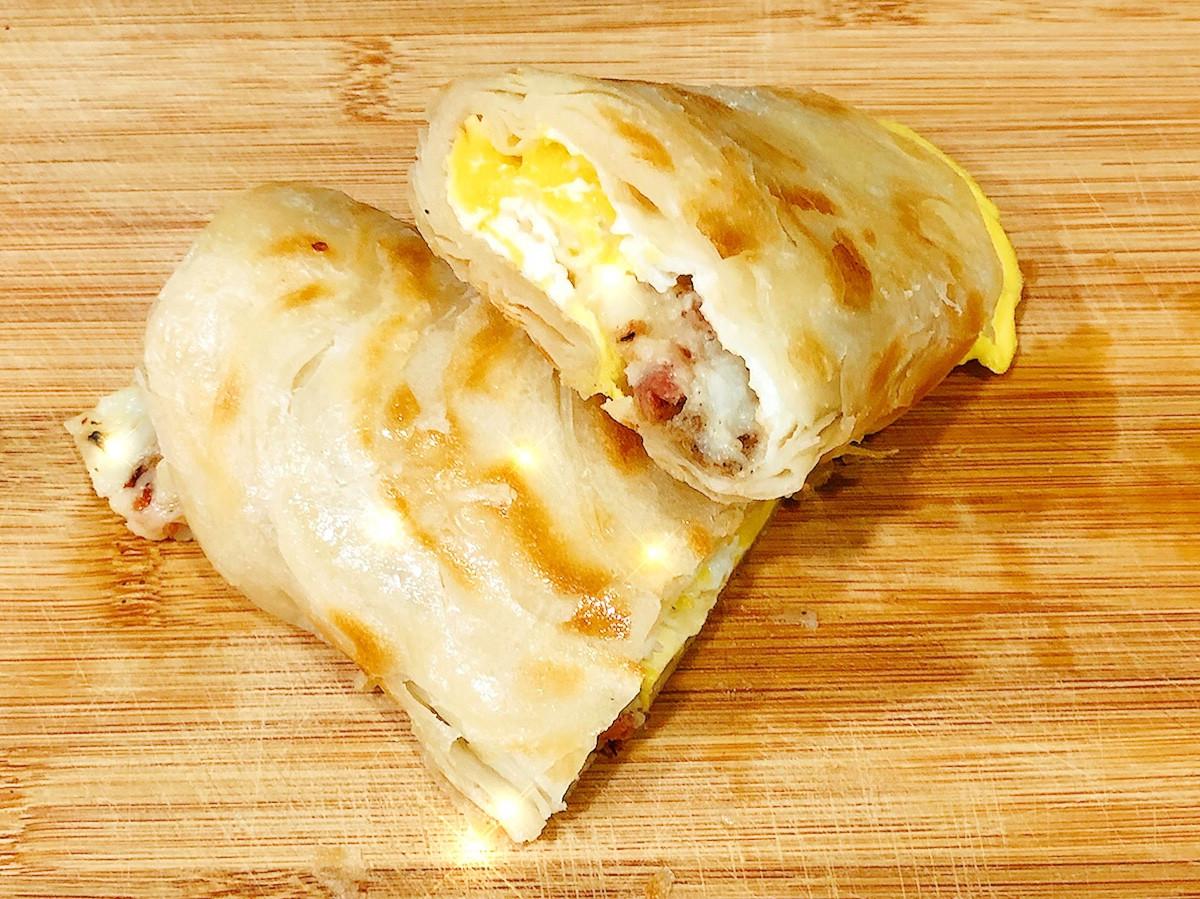酥脆蛋餅皮~培根馬鈴薯泥蛋餅