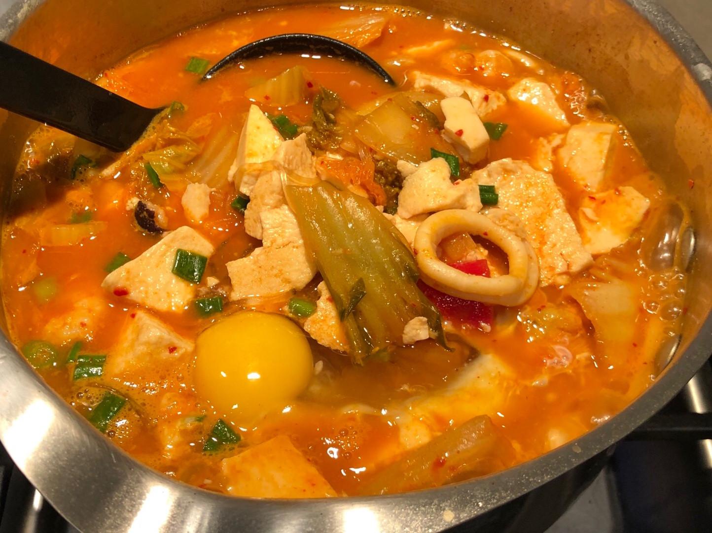 韓式海鮮豆腐煲 (一鍋到底)
