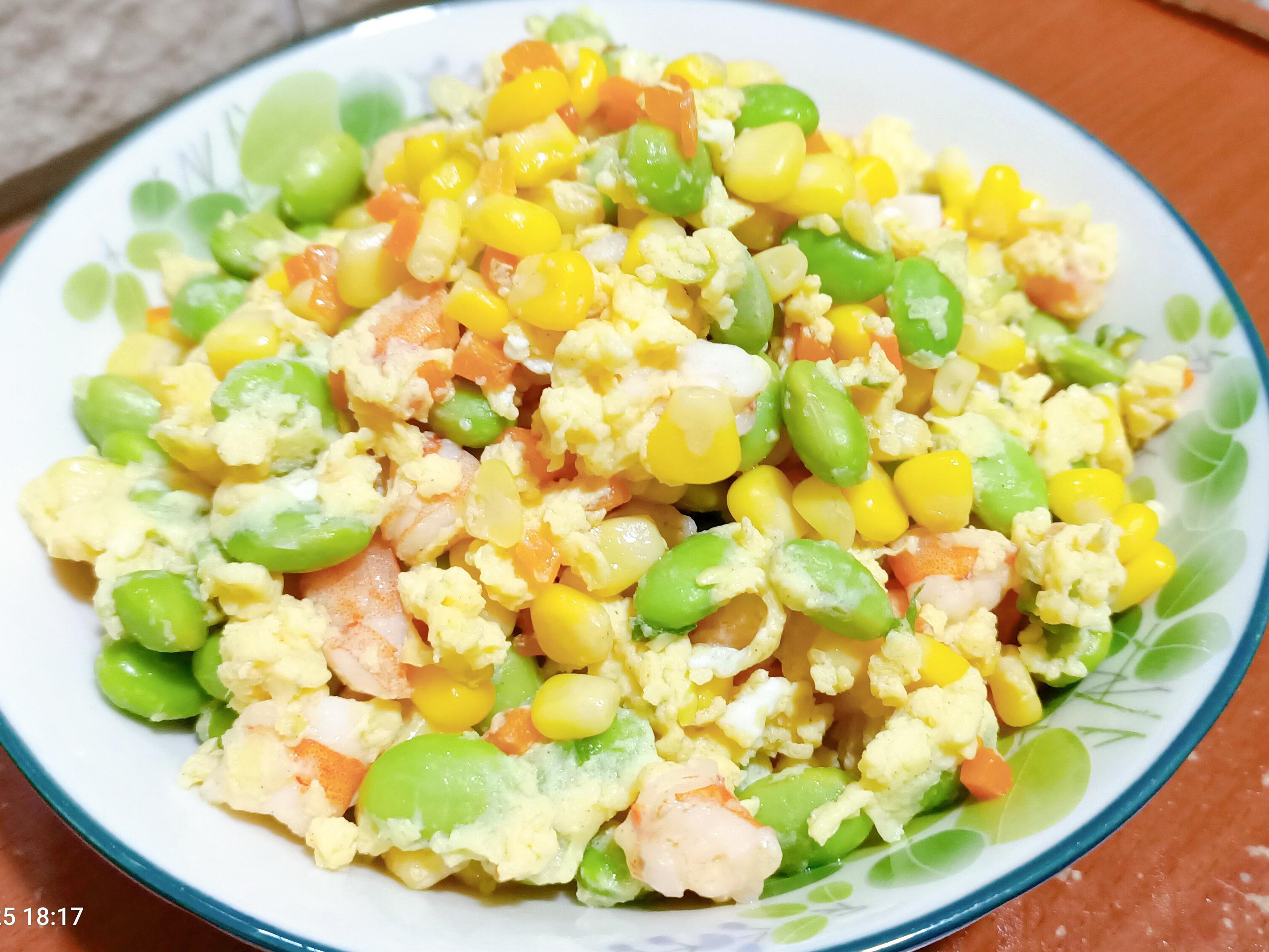 毛豆玉米蝦仁炒蛋