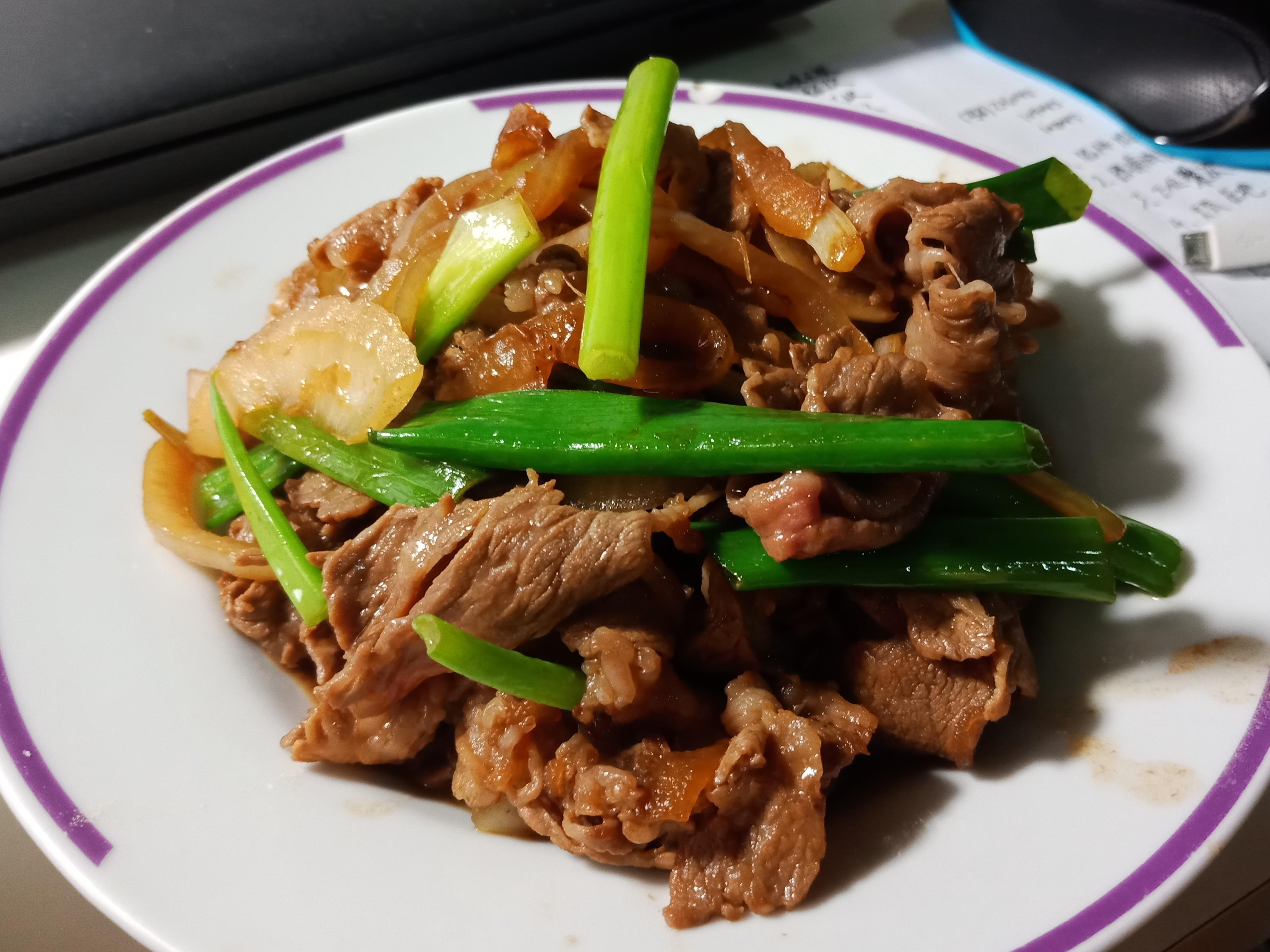 【緊張的】簡易蔥爆牛肉(無蒜無辣椒)